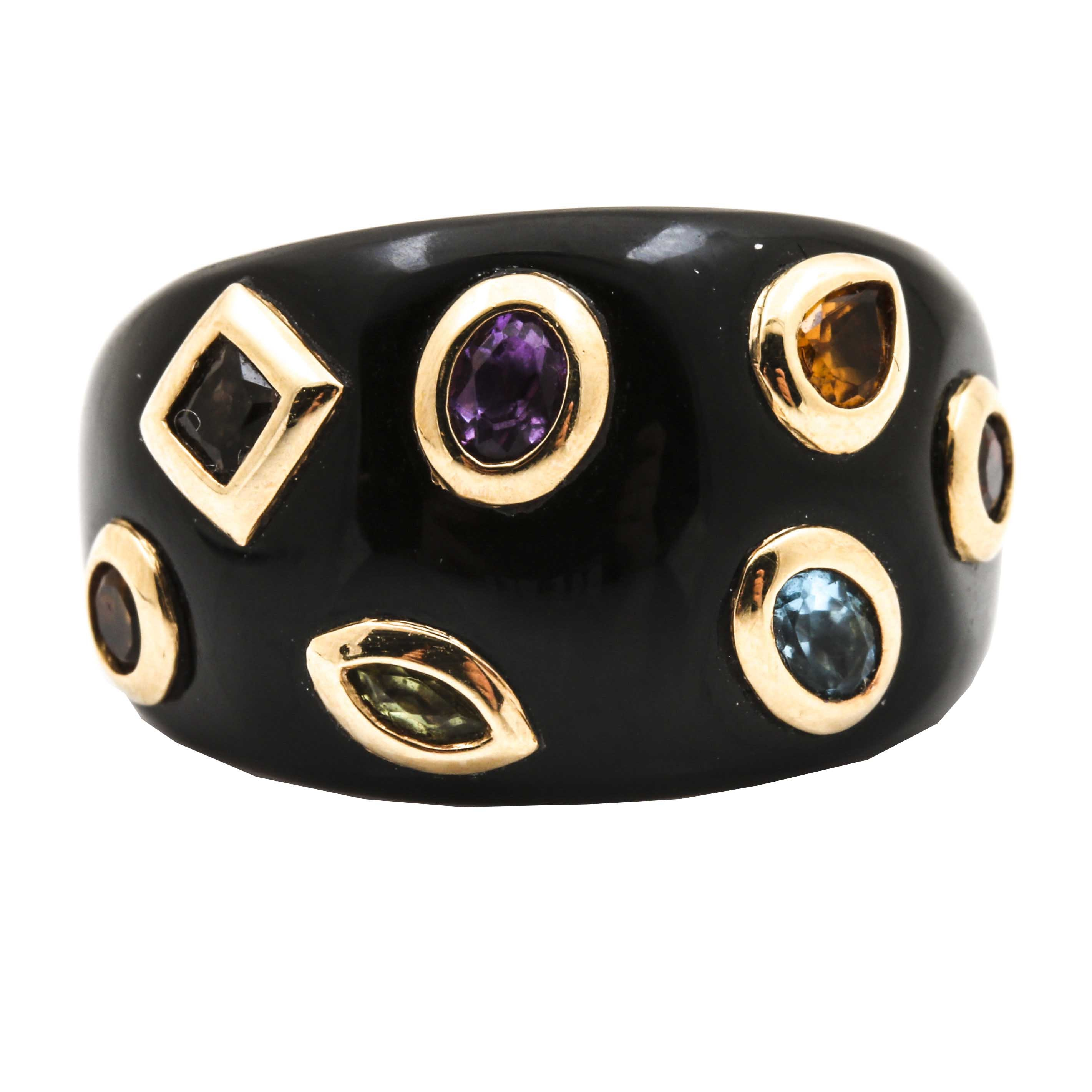 Black Onyx and 10K Yellow Gold Gemstone Domed Ring