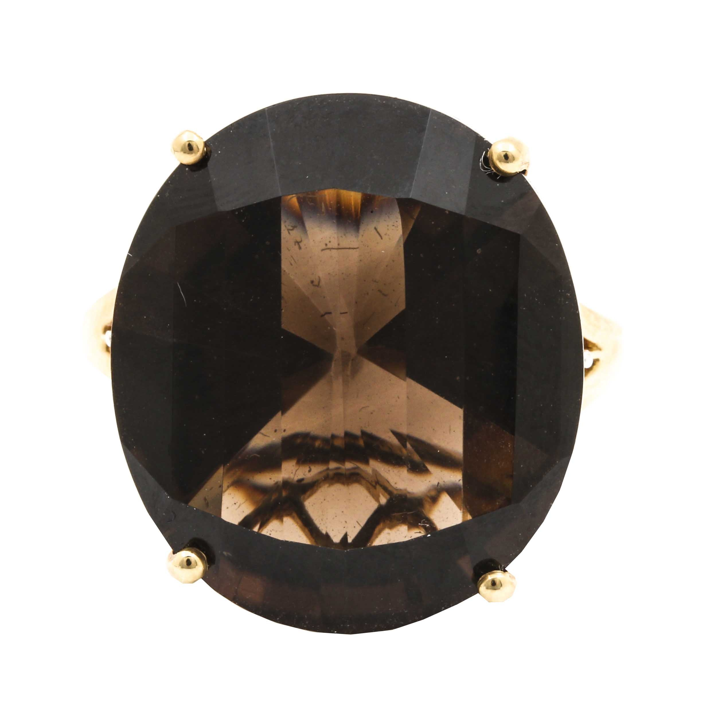 14K Yellow Gold Smoky Quartz Ring with White Sapphires