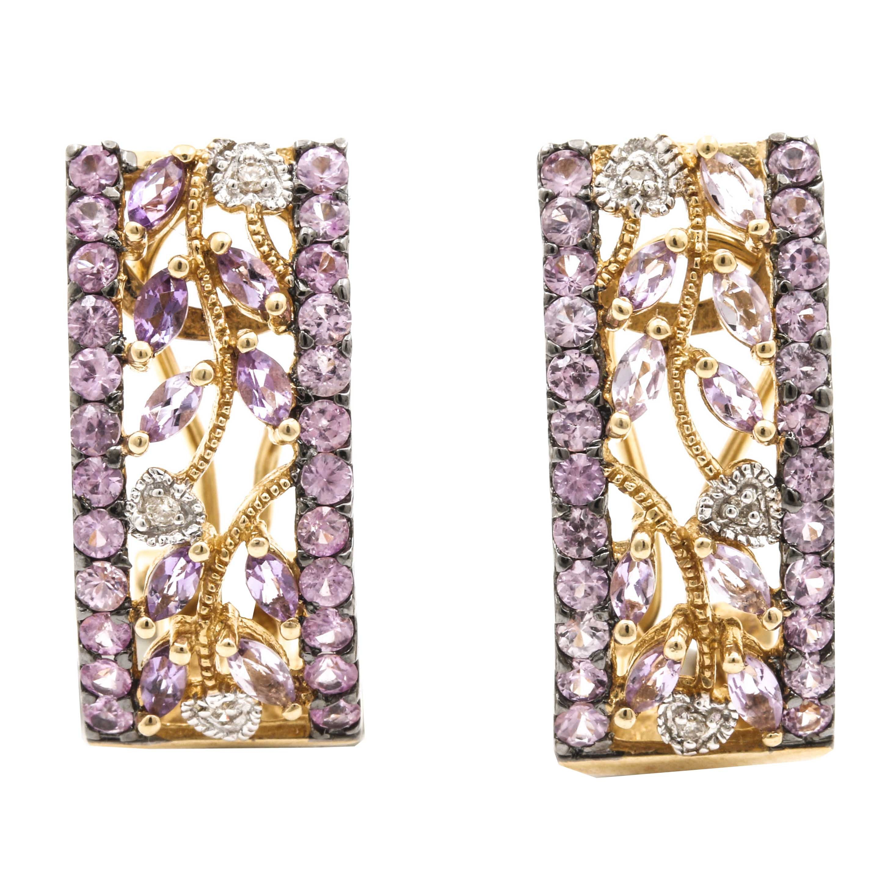 14K Yellow Gold Pink Sapphire and Amethyst J-Hoop Earrings
