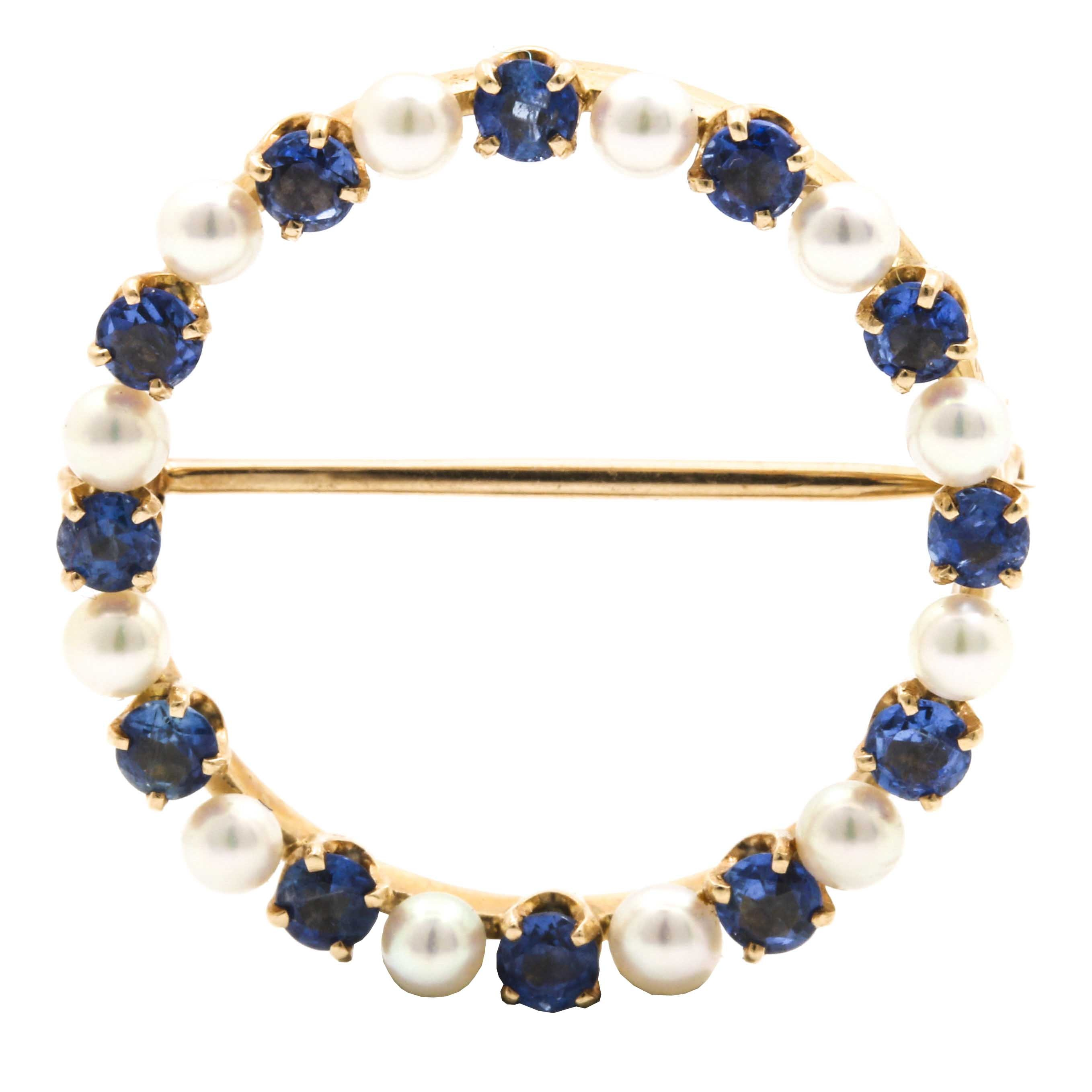 14K Yellow Gold Sapphire and Cultured Pearl Brooch