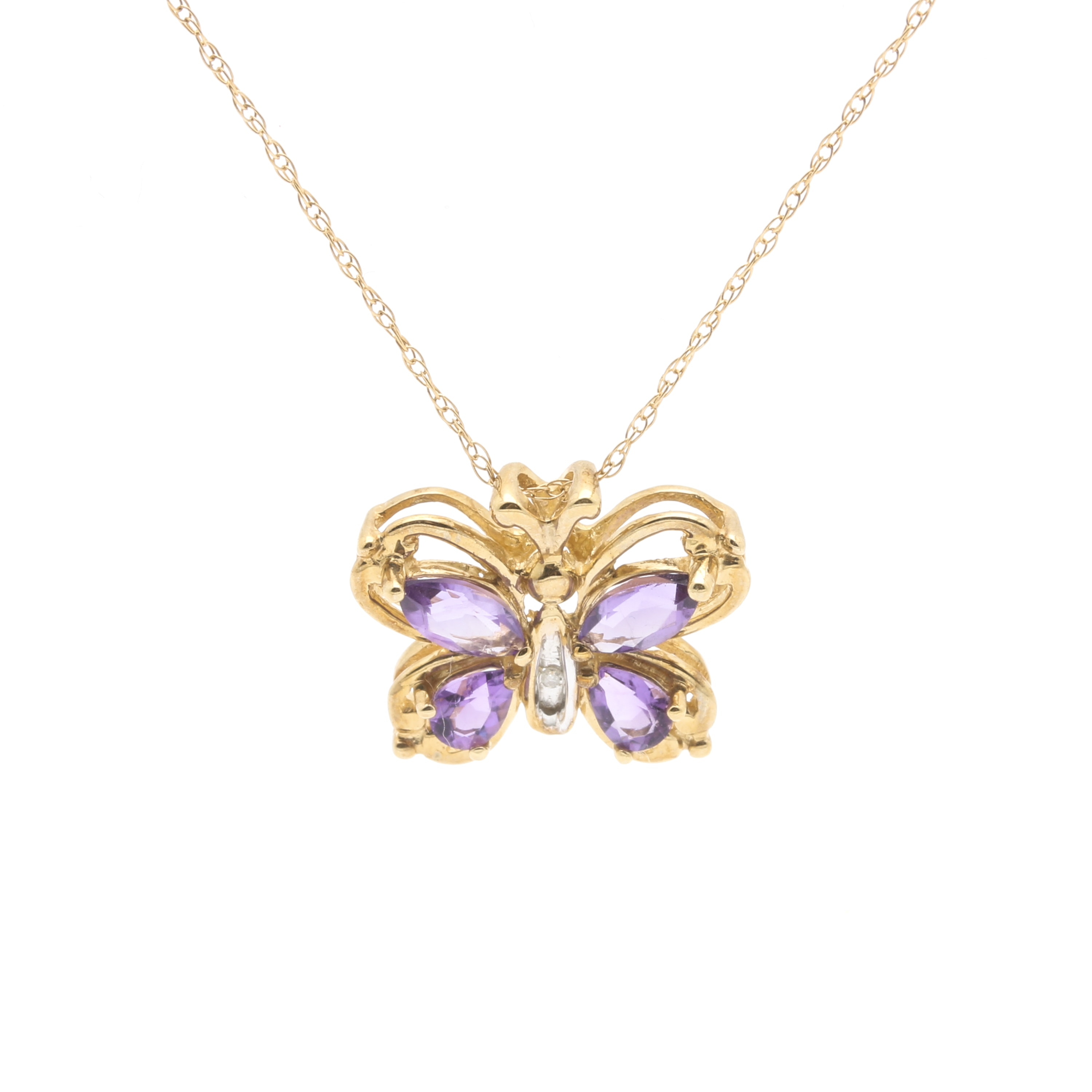 Alwand Vahan 10K Yellow Gold Amethyst and Diamond Butterfly Pendant Necklace