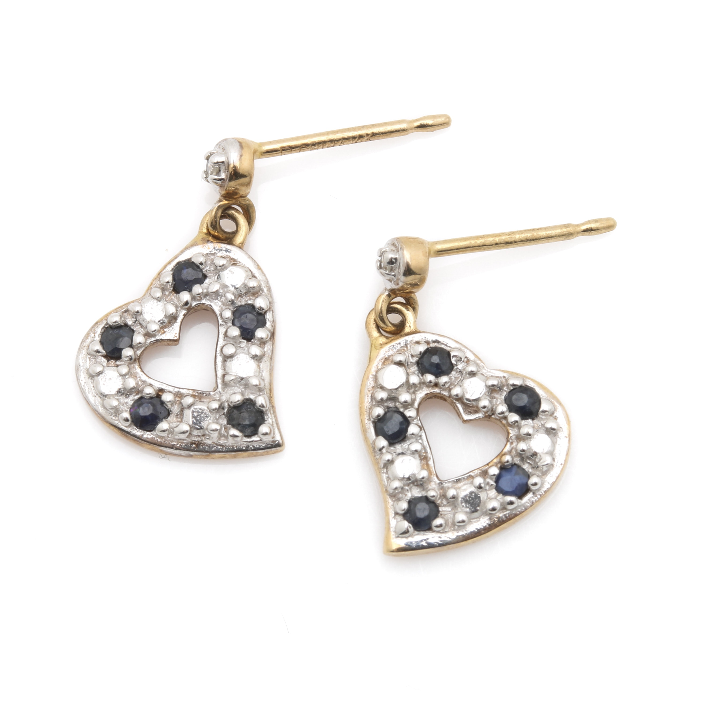 Robert Grey Kaylor 14K and 10K Gold Diamond and Sapphire Heart Earrings