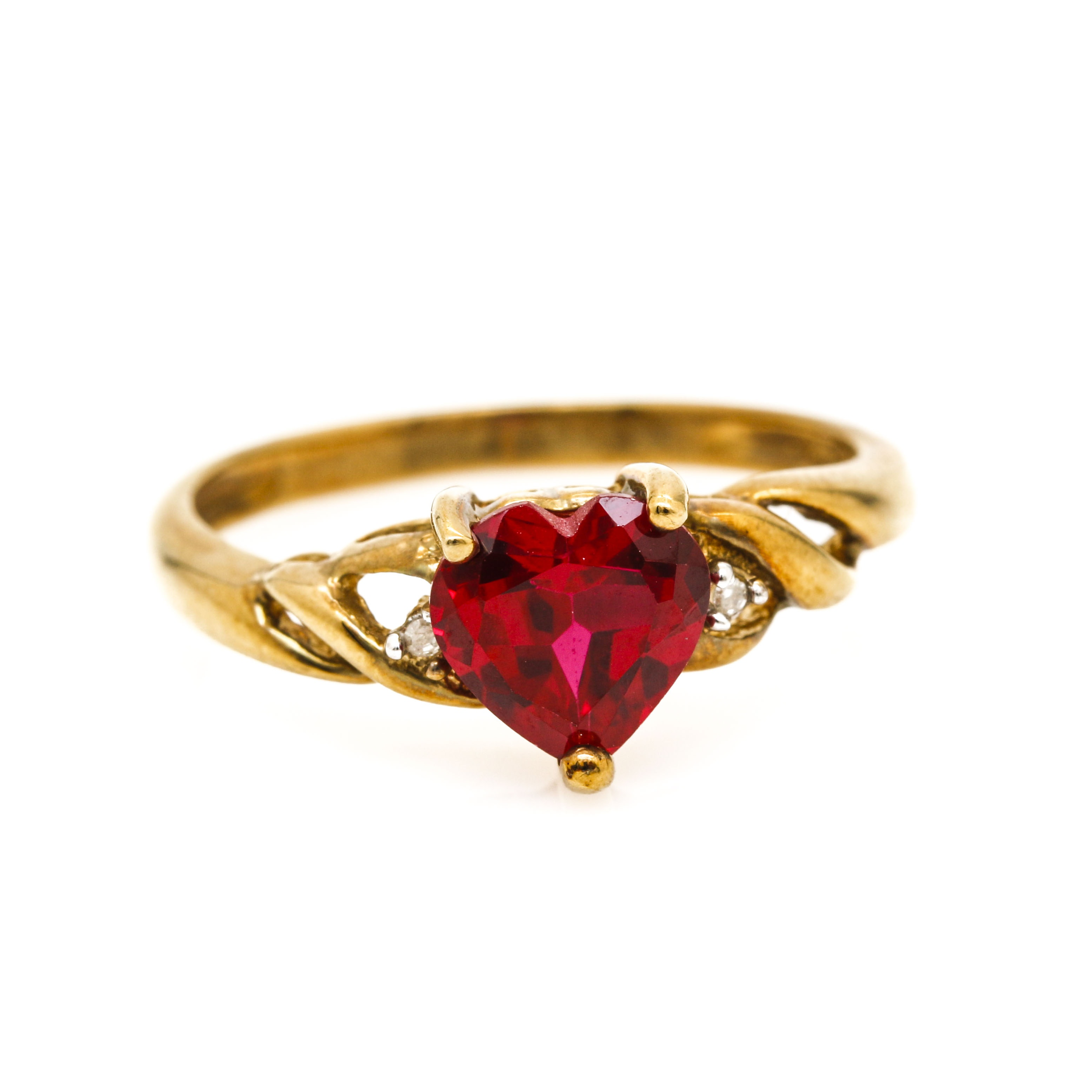 10K Yellow Gold Heart Shaped Ruby and Diamond Ring