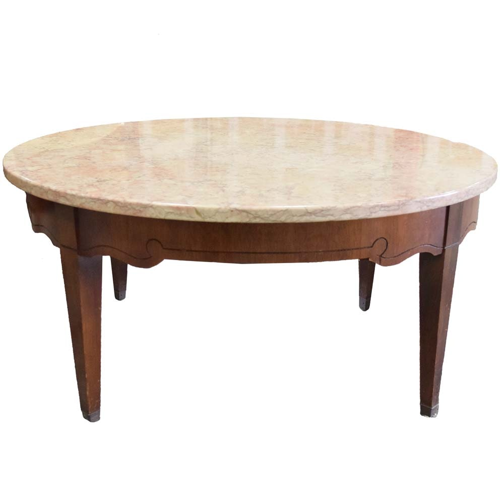 Vintage Round Marble Top Cherry Coffee Table