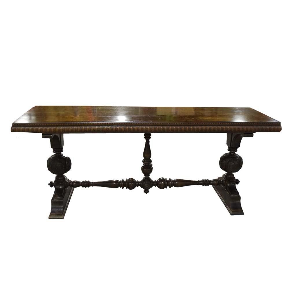 Jacobean Revival Trestle Library Table