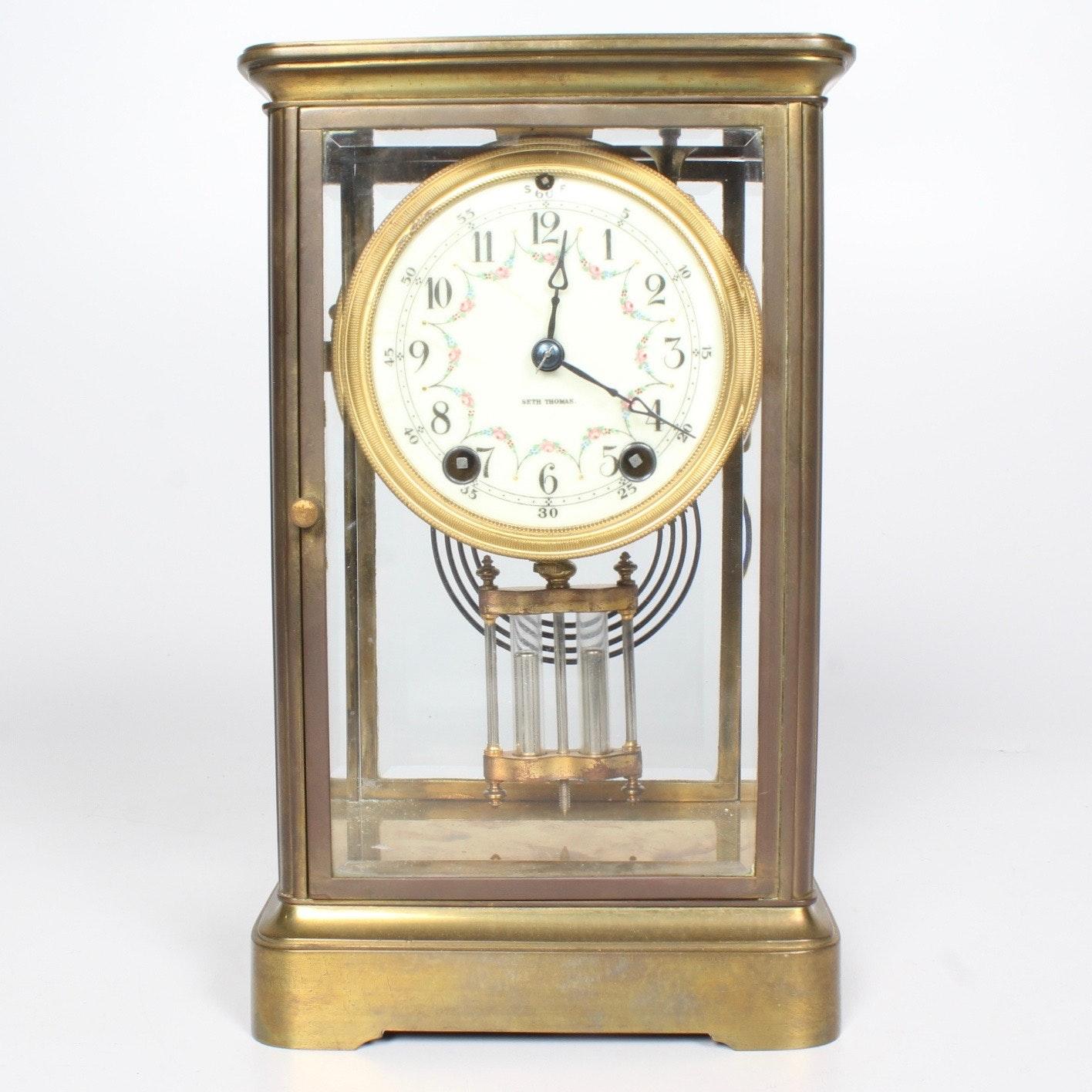 Brass Cased Seth Thomas Mantel Clock