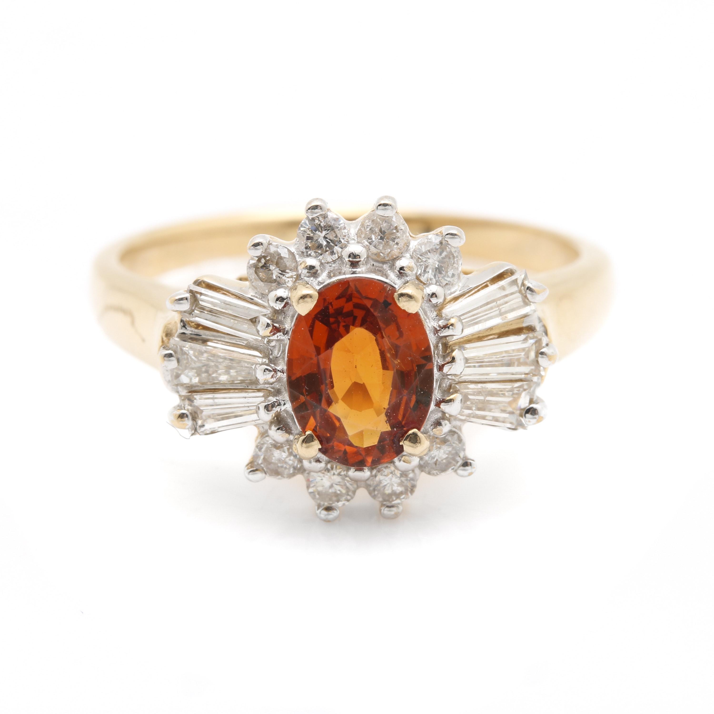 14K Yellow Gold Spessartine Garnet Diamond Ring