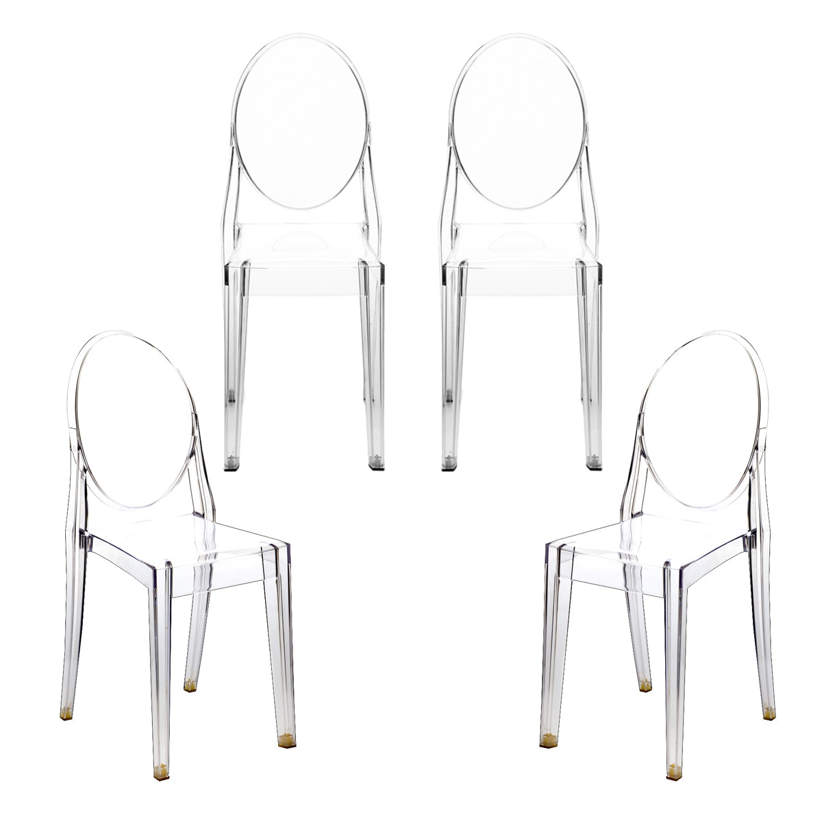 Four Kartell Victoria Ghost Dining Chairs