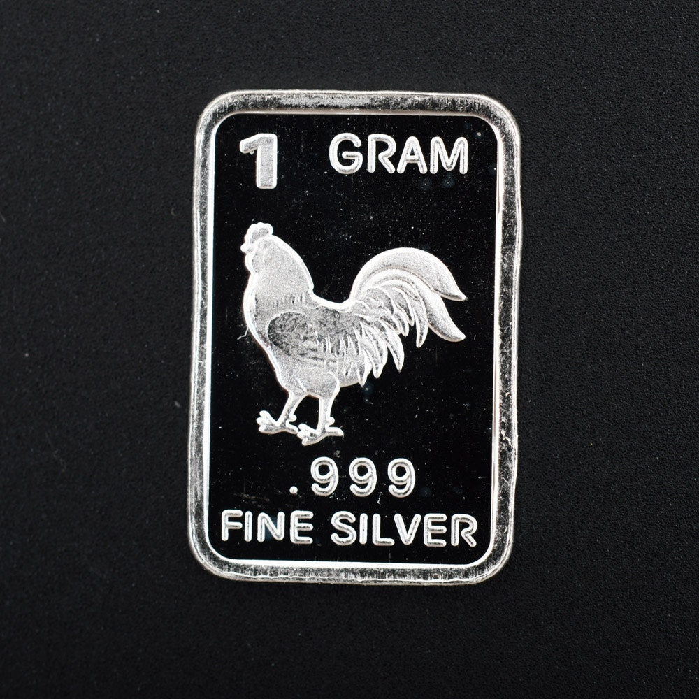 1 Gram .999 Silver Chinese Zodiac Rooster Bullion Bar