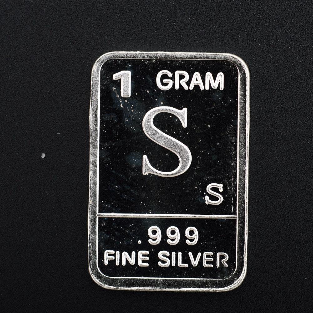 "1 Gram .999 Silver Alphabet ""S"" Bullion Bar"