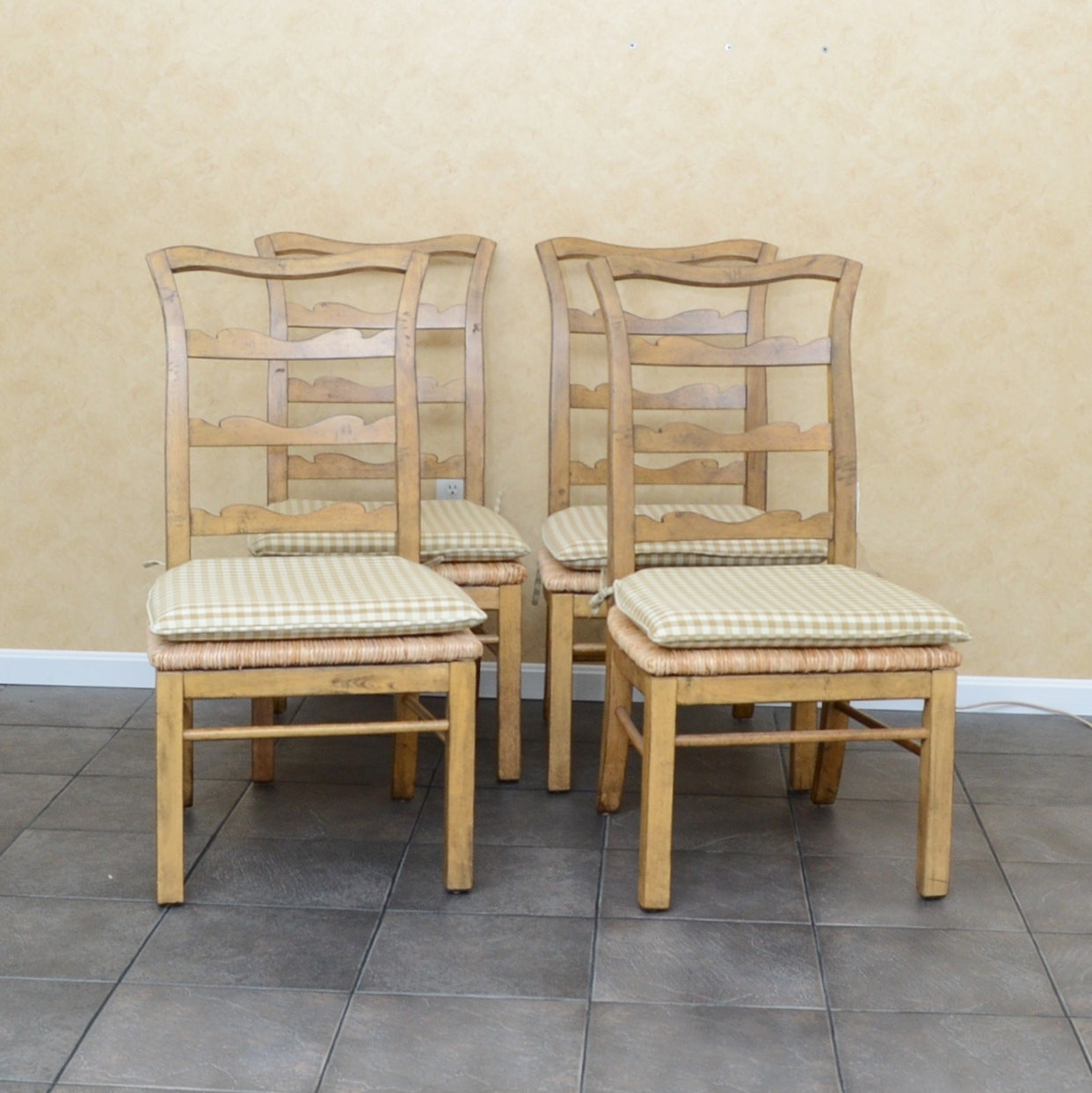 Ladder-Back Side Chairs with Rush Seats