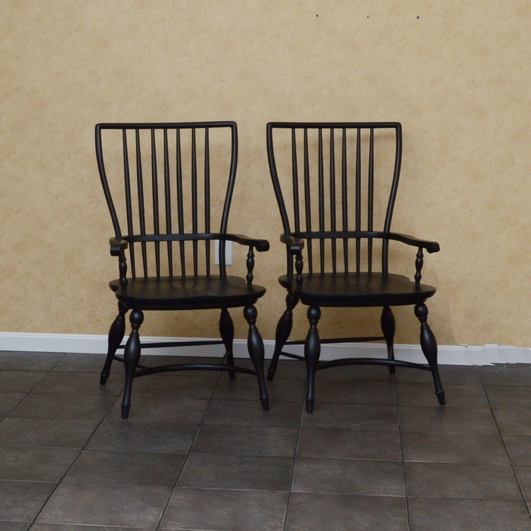 Pair of Black Spindle-Back Armchairs