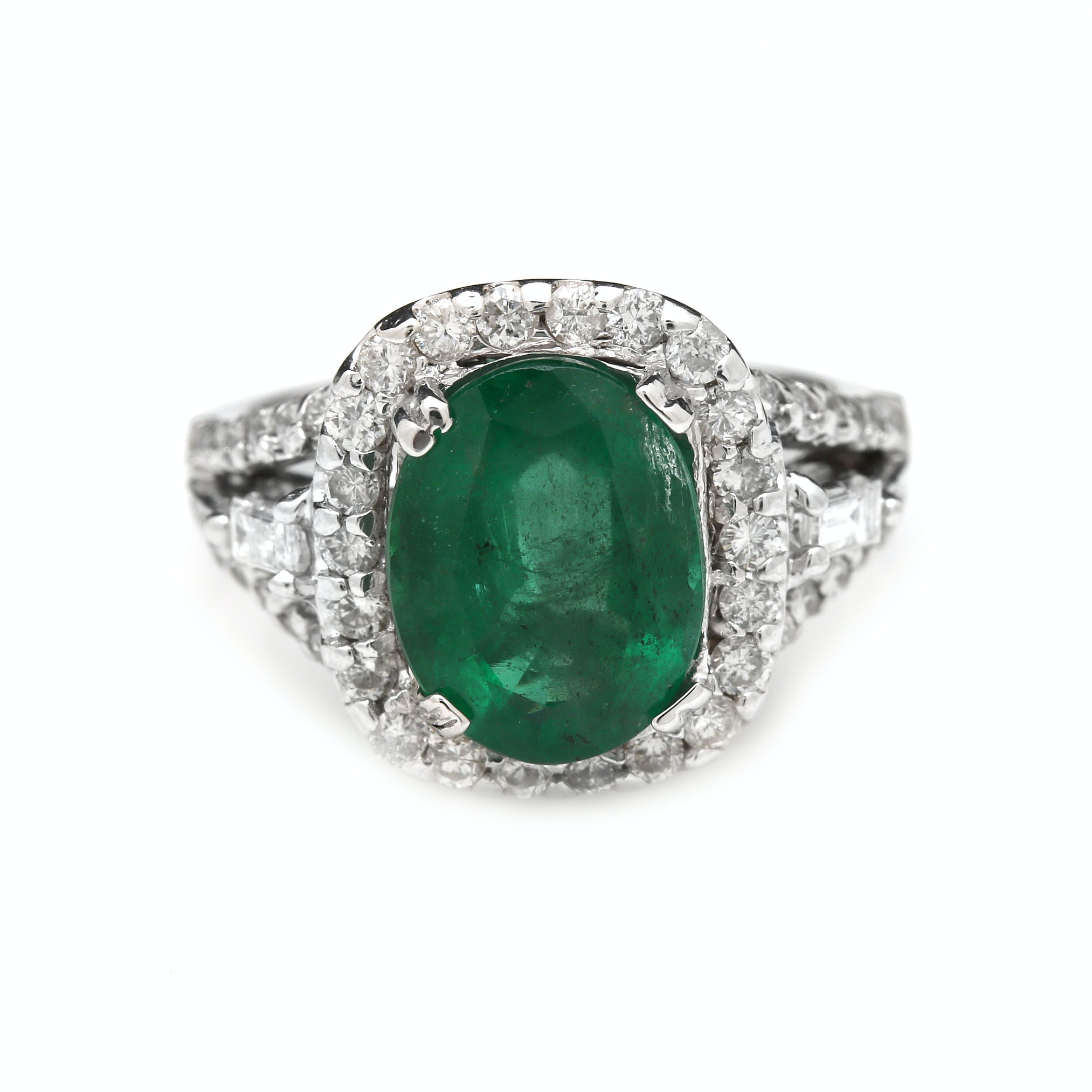14K White Gold 3.06 CT Emerald and 1.34 CTW Diamond Ring