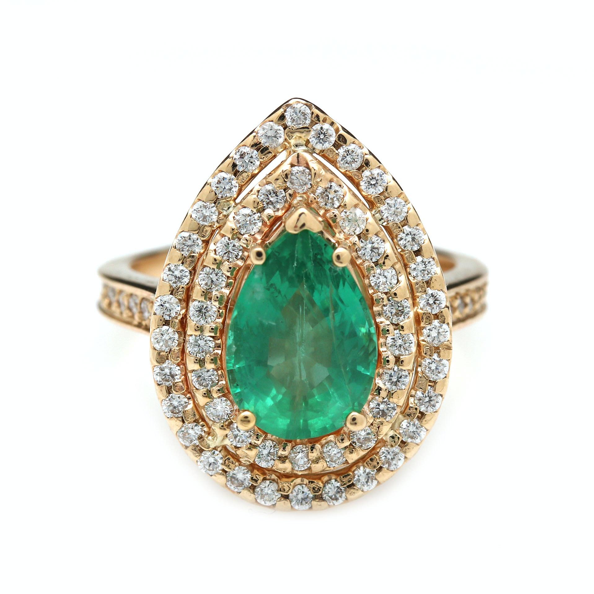 14K Yellow Gold 1.90 CT Emerald and Diamond Ring
