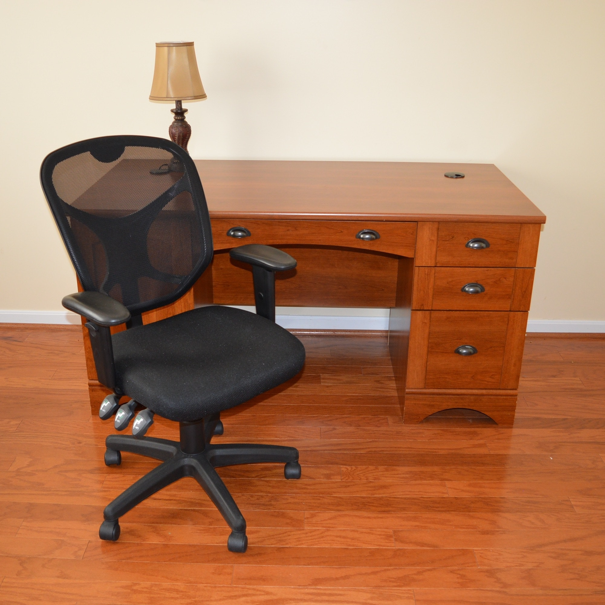 Mission-Style Desk, Office Chair, and Accent Lamp