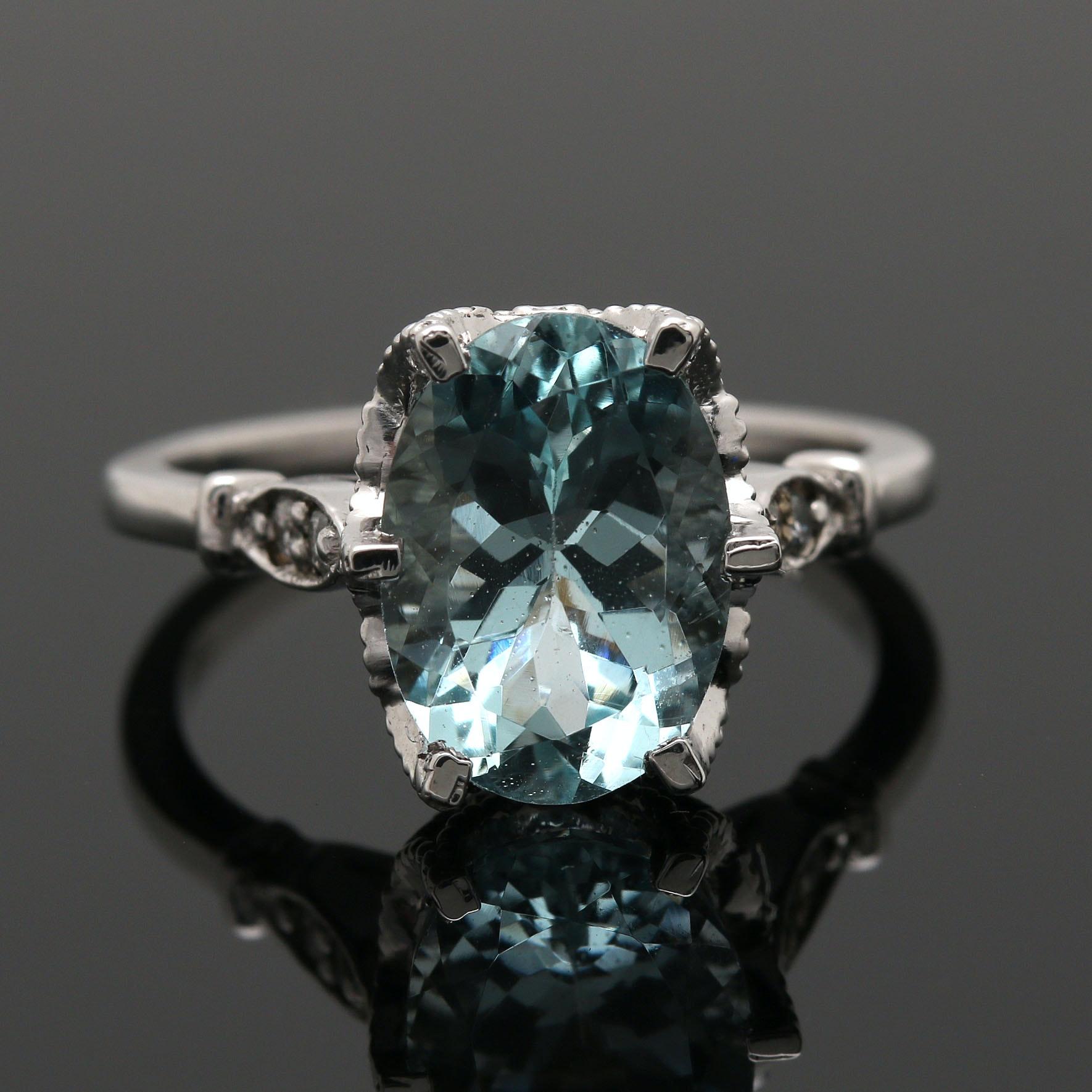 14K White Gold 2.81 CT Aquamarine and Diamond Ring