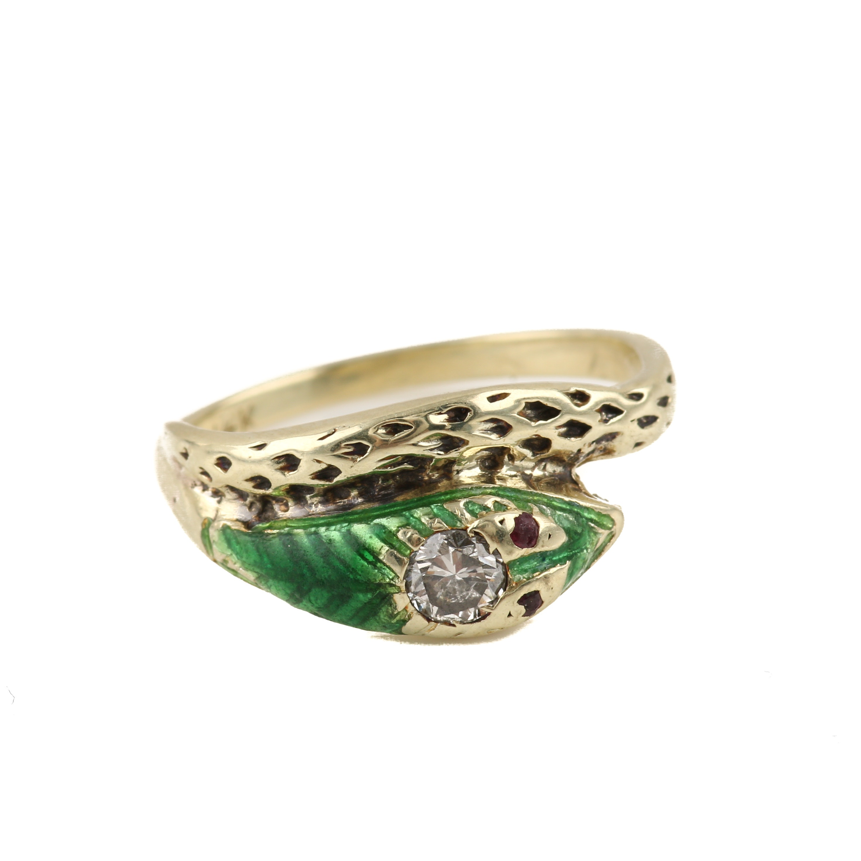14K Yellow Gold Diamond, Ruby, and Enamel Snake Ring