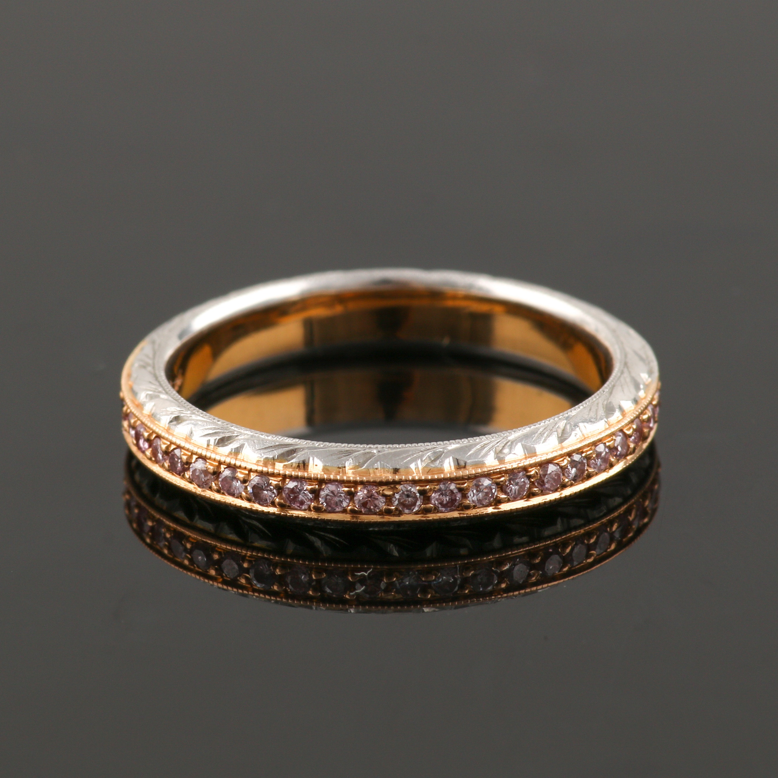 Michael Beaudry Platinum and Diamond Eternity Ring With 18K Yellow Gold Accents
