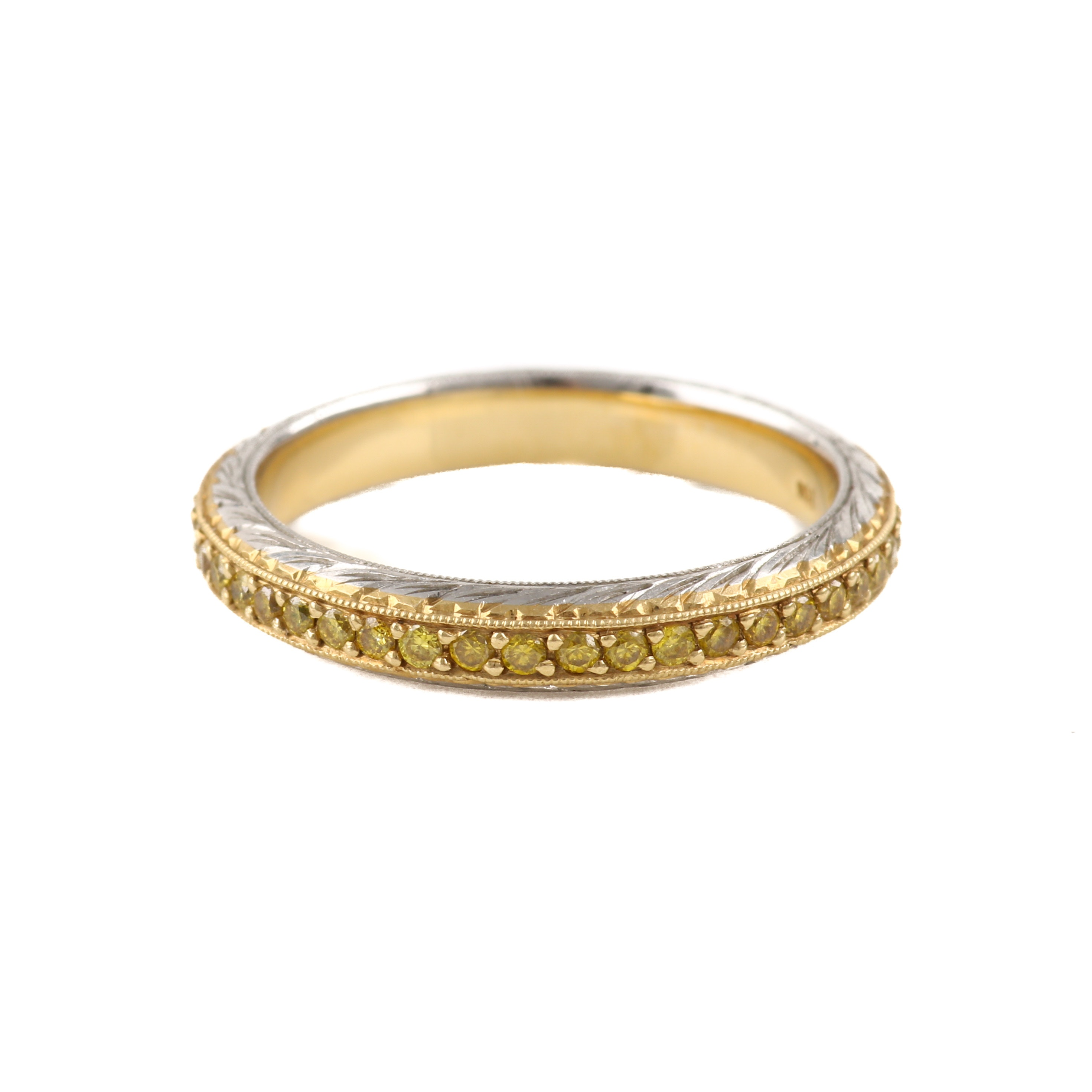 Michael Beaudry Platinum and Yellow Diamond Eternity Band With 18K Gold Accents