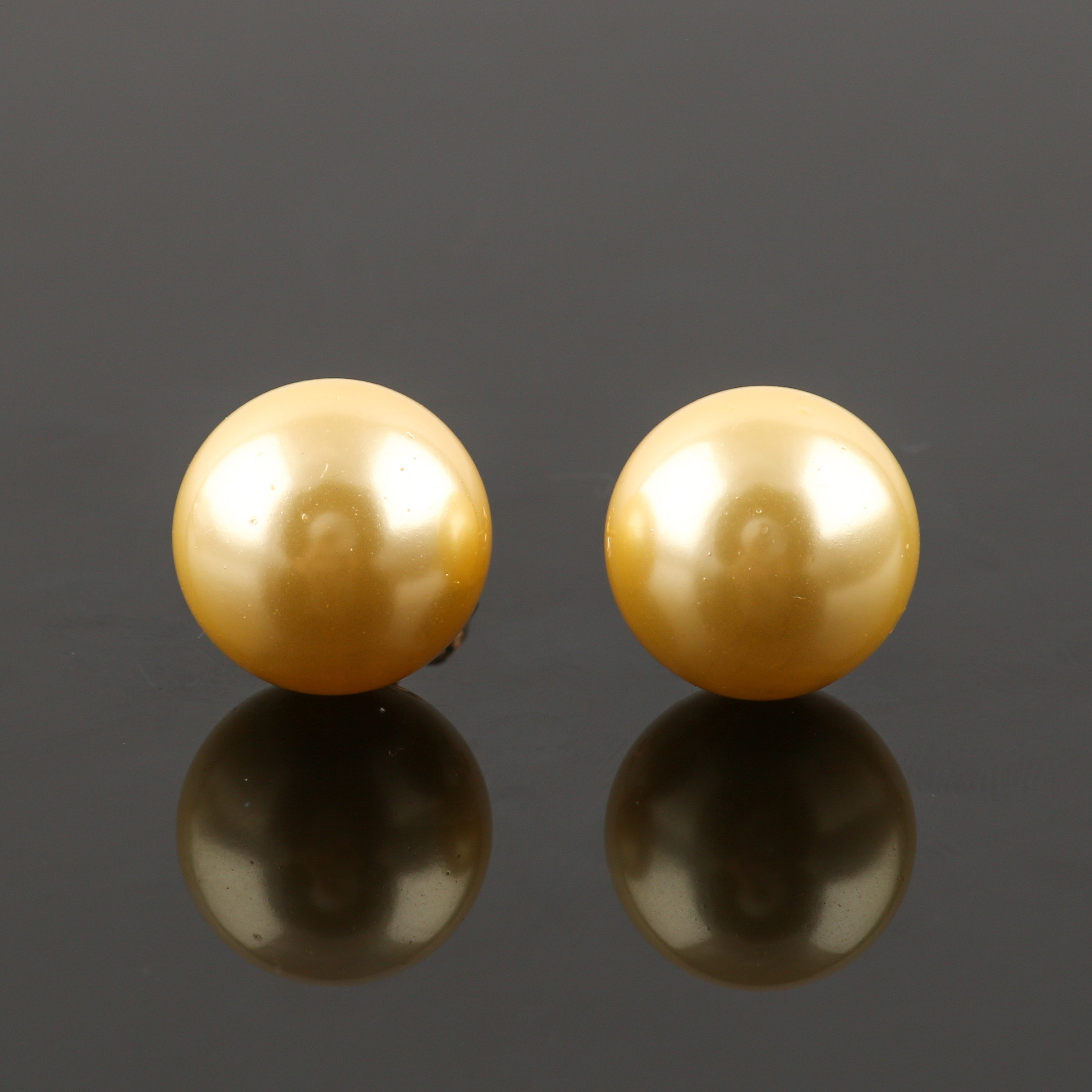 14K Yellow Gold Cultured South Sea Pearl Stud Earrings