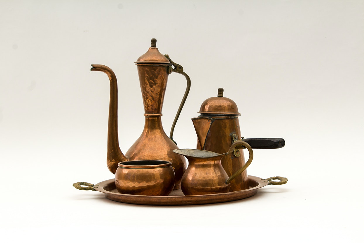 Hammered Copper Serving Set for Turkish Coffee
