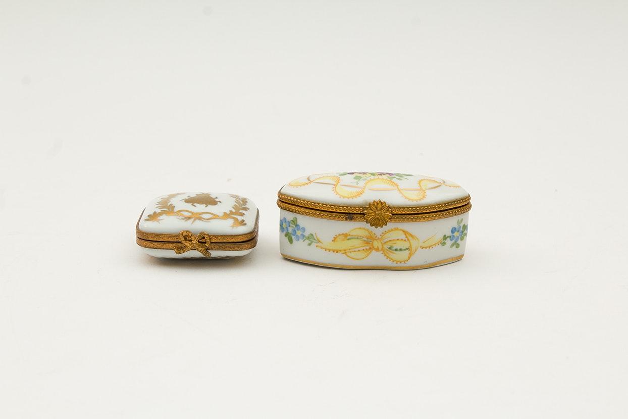 Vintage Limoges Porcelain Trinket Boxes