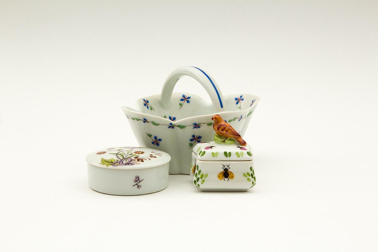 Porcelain Limoges Trinket Boxes and Basket