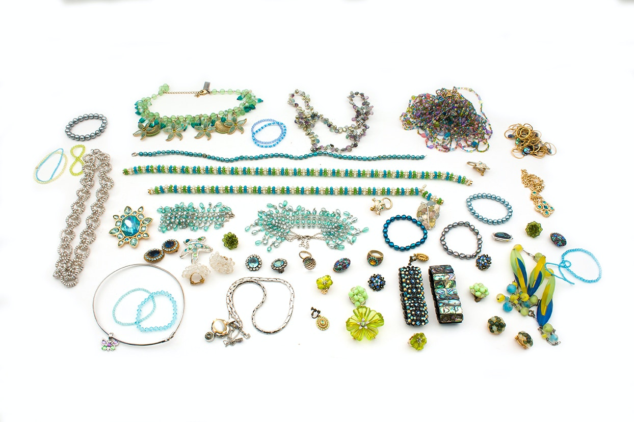 Rhinestone and Shell  Jewelry Featuring Designer Joan Rivers
