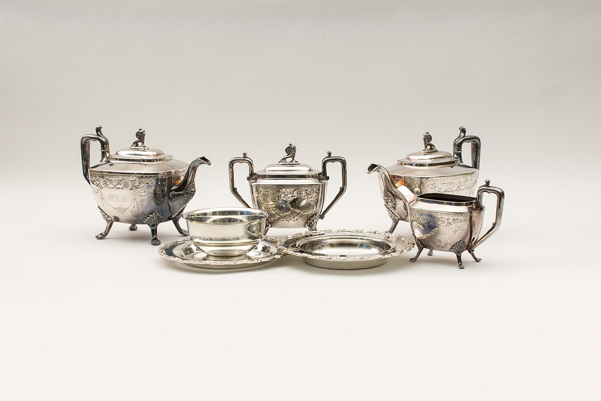 Antique Silver Plate Reed & Barton Teapot Set and Oneida Serving Pieces