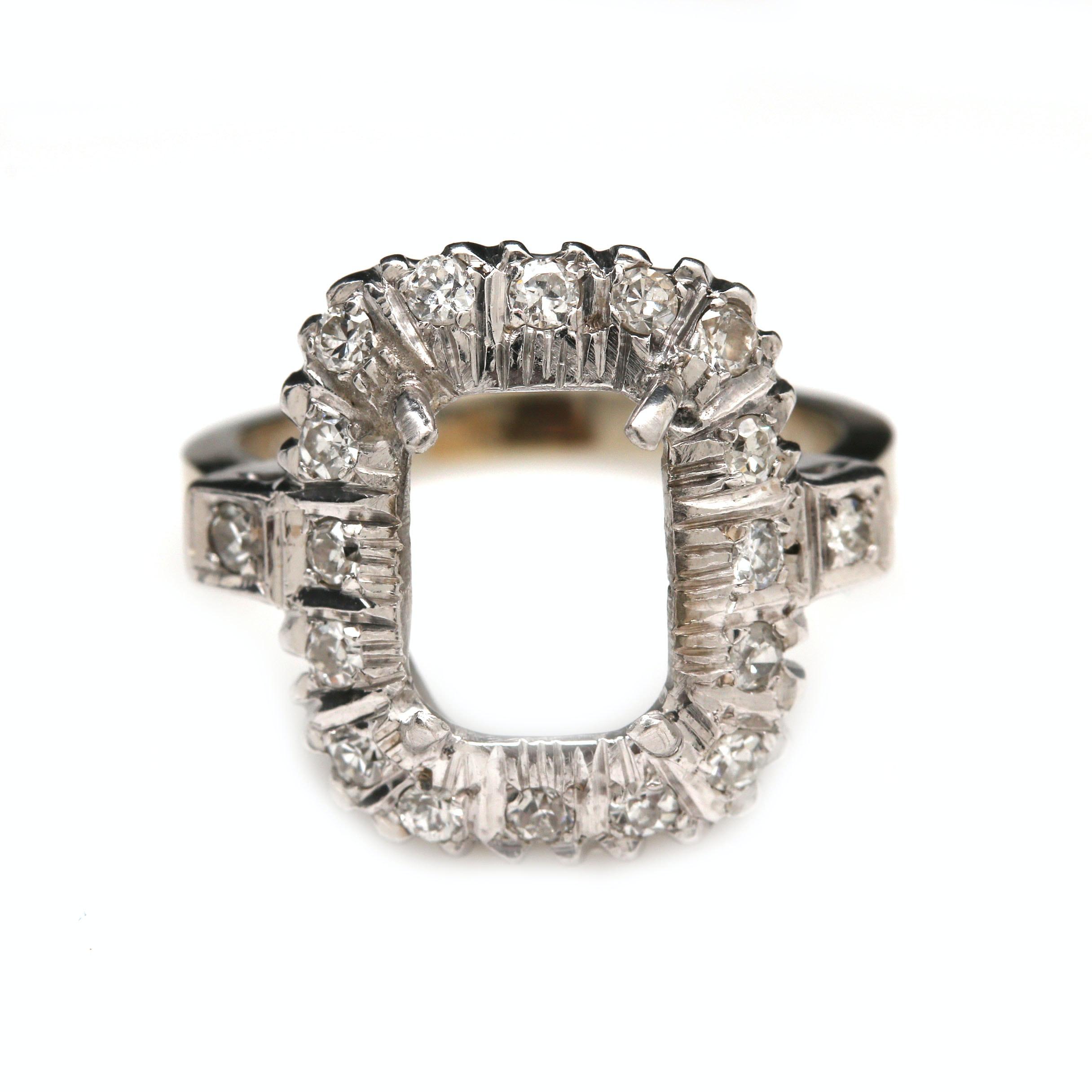 14K White Gold Diamond Semi Mount