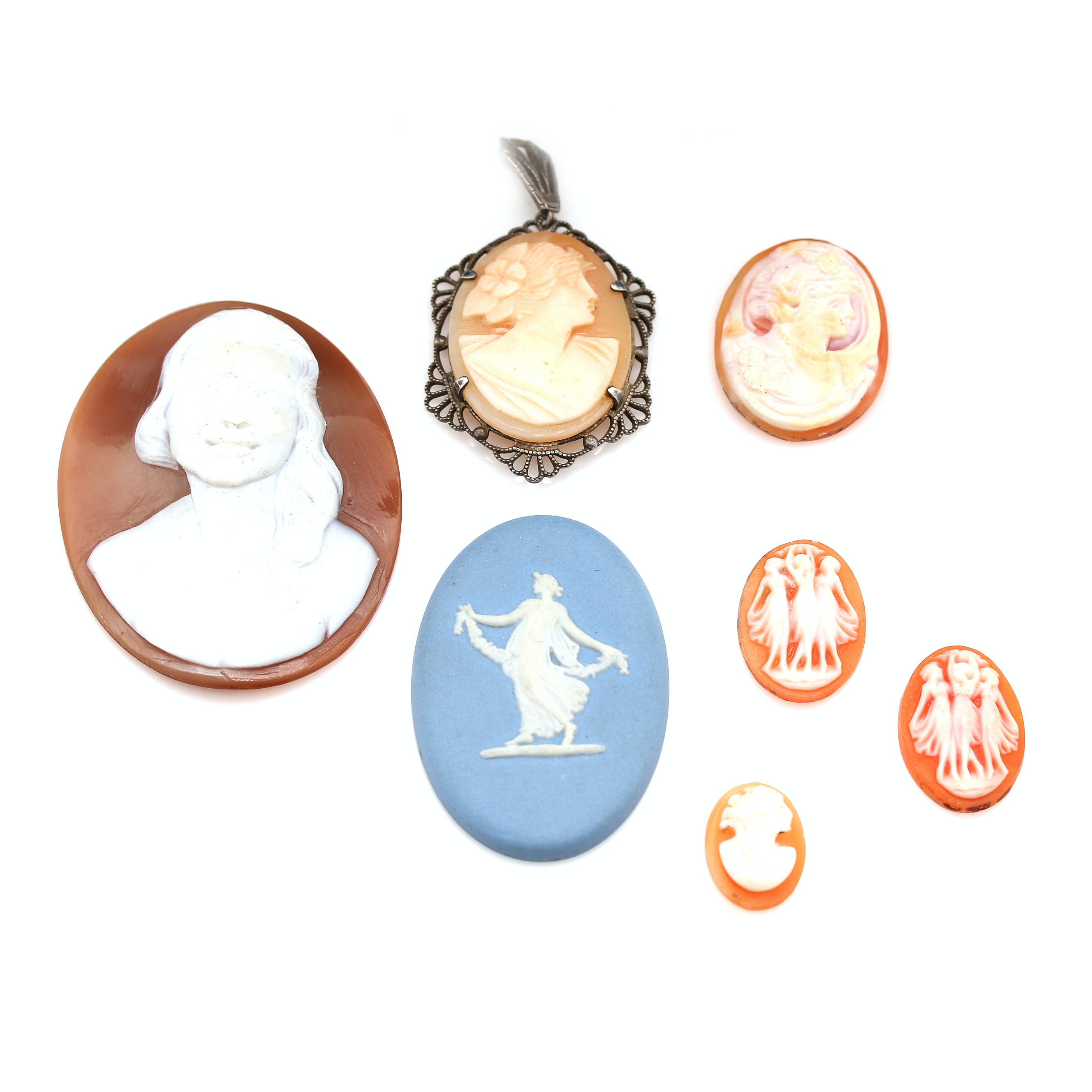 Sterling Silver Carved Shell Cameo Pendant Including an Assortment of Cameos