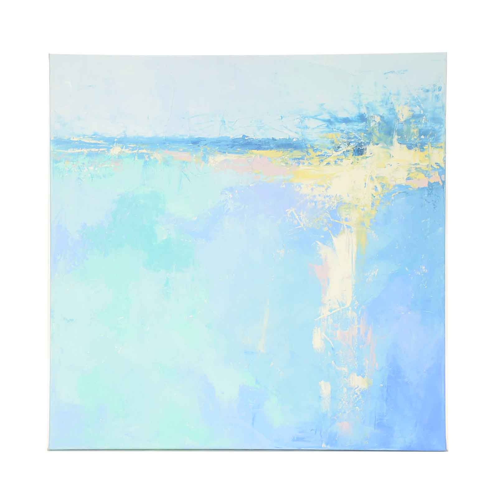 """Sarah Brown Abstract Oil Painting """"Seascape Sun"""""""