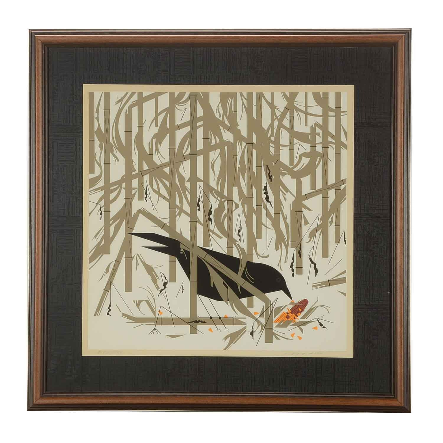 """Charley Harper Limited Edition Serigraph """"Crow in the Snow"""""""
