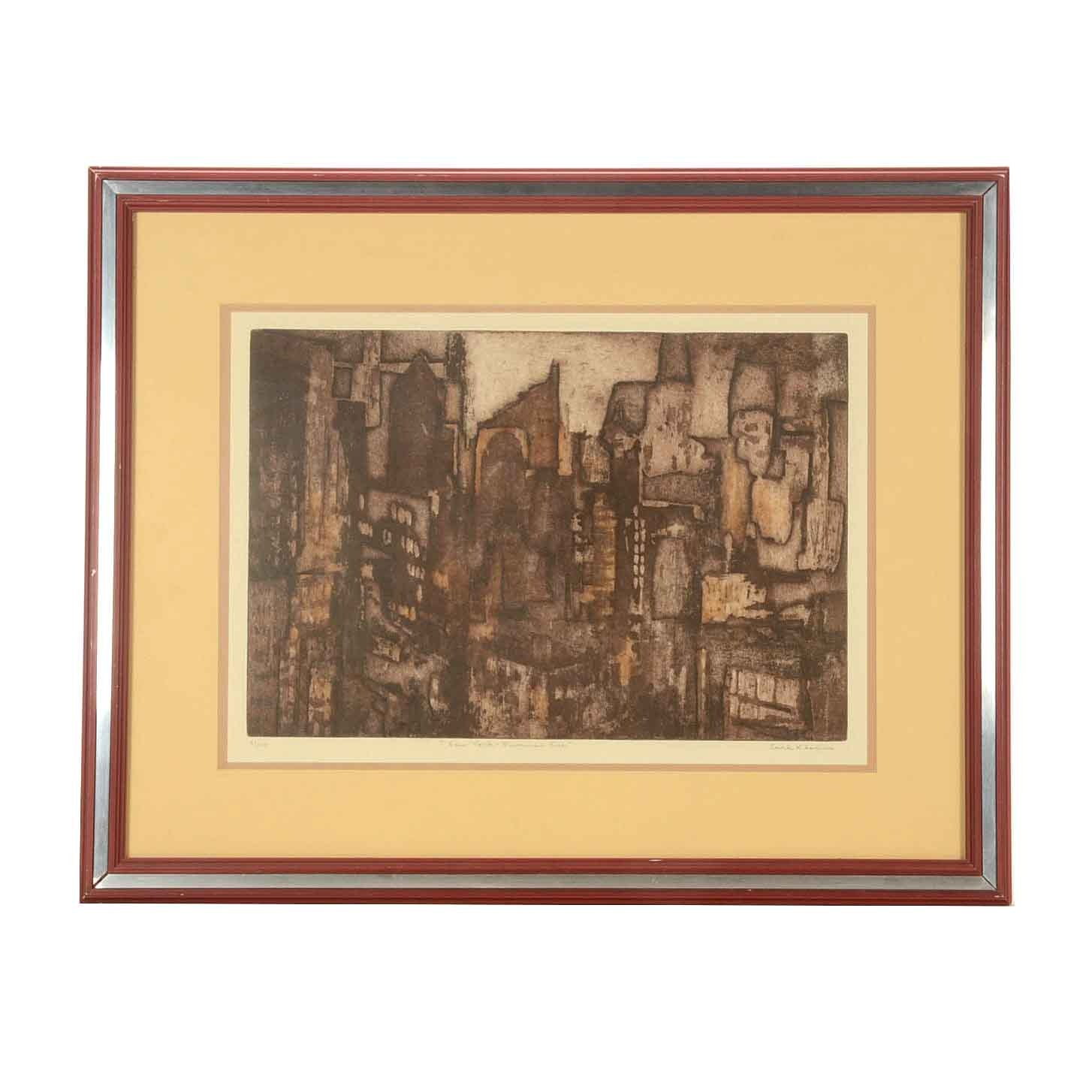 "Earl Klein Limited Edition Etching ""New York - Summer Eve"""