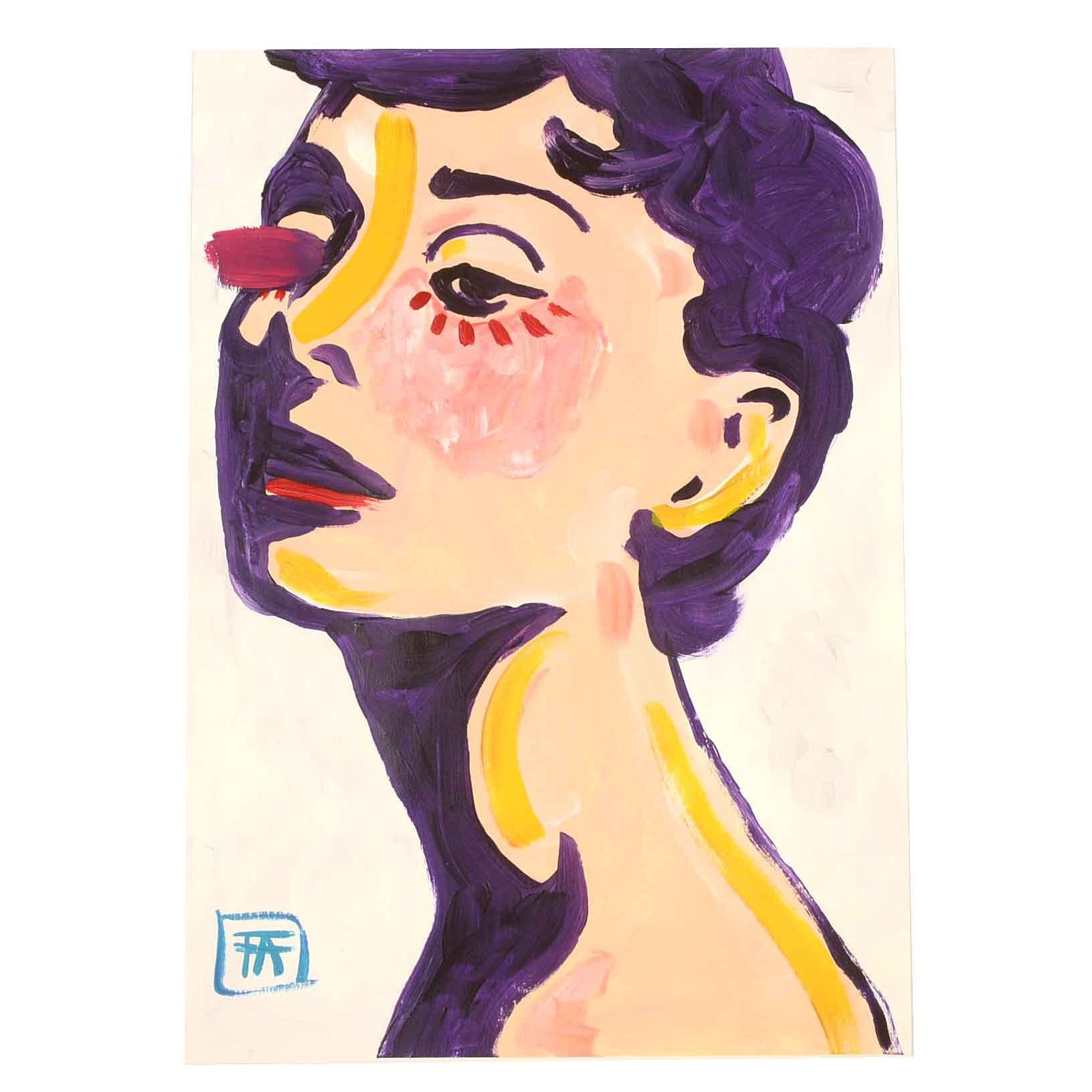 "Francois Aguiard Acrylic Painting on Paper ""Audrey Hepburn"""