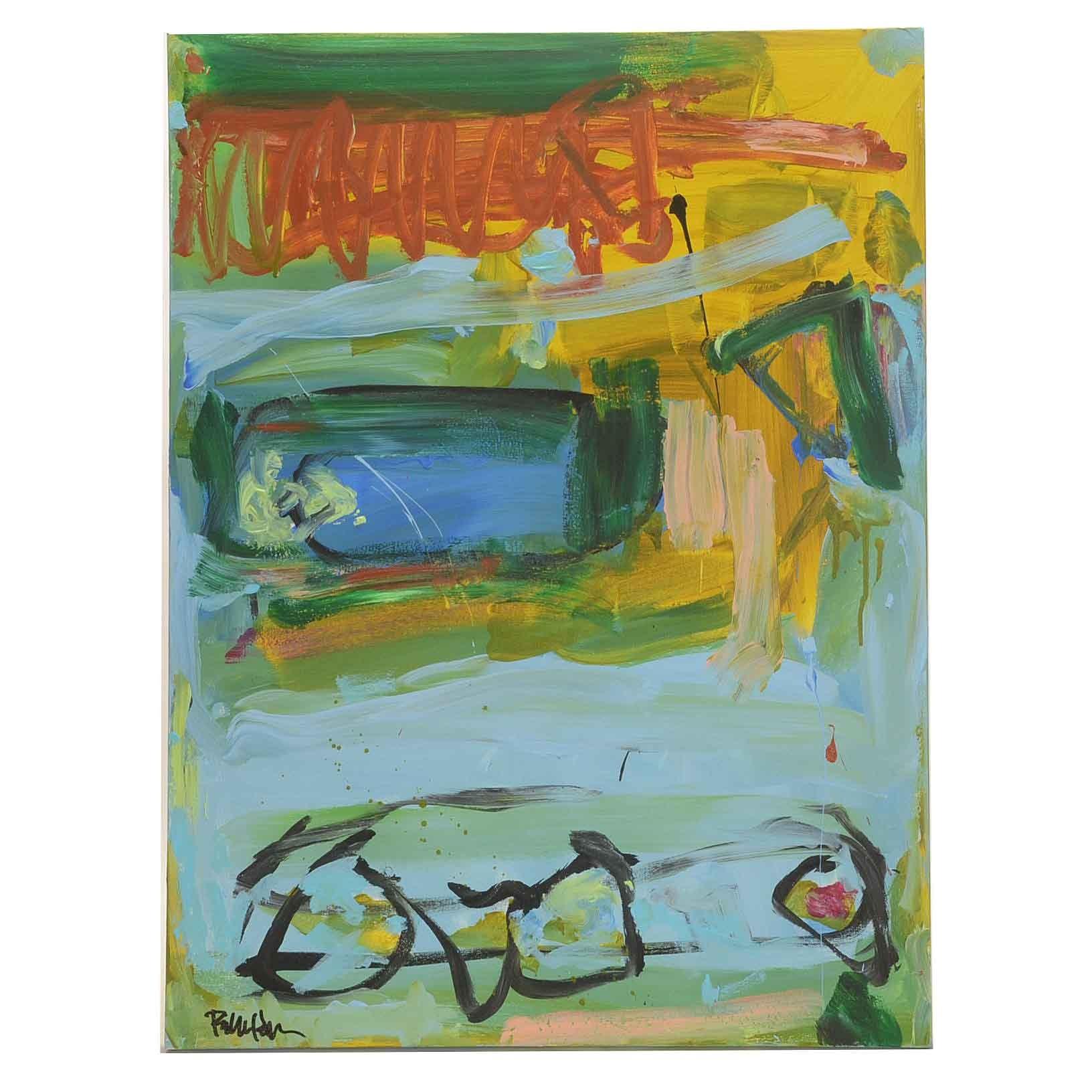 "Robbie Kemper Acrylic Painting on Canvas ""Three Black Circles"""
