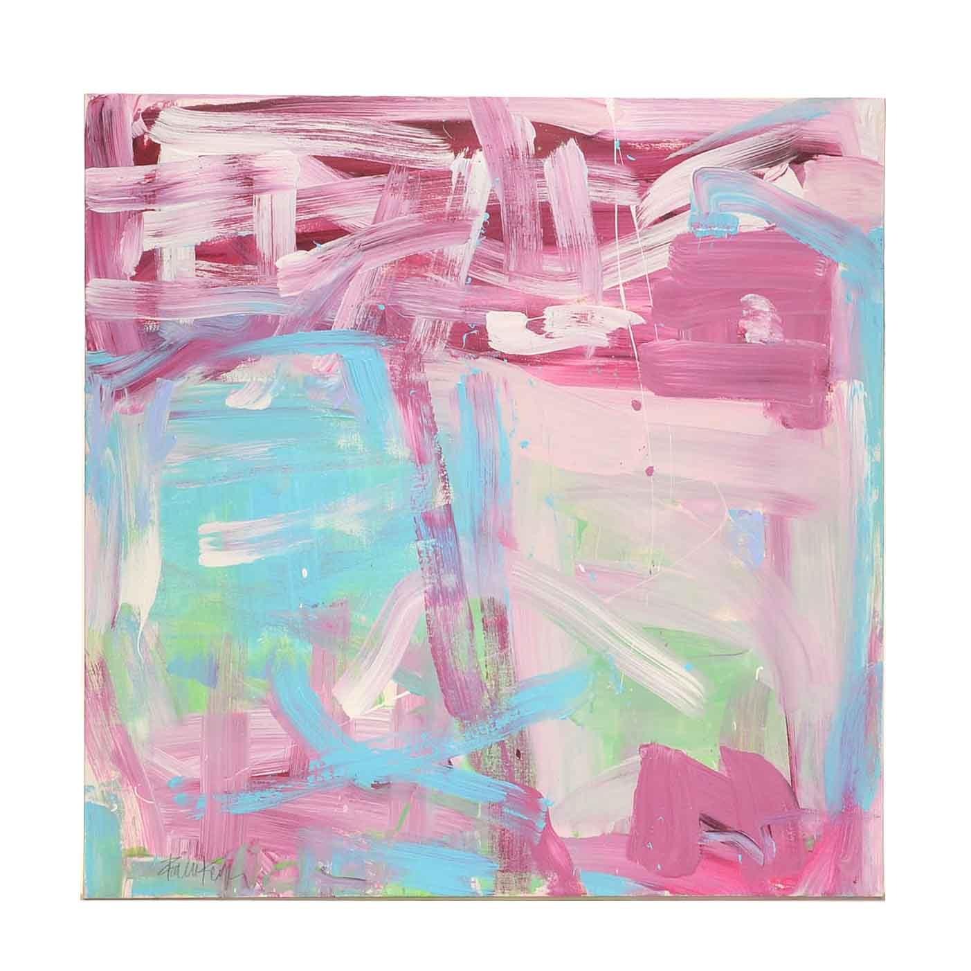 "Robbie Kemper Acrylic Painting on Canvas ""Magenta Underneath"""