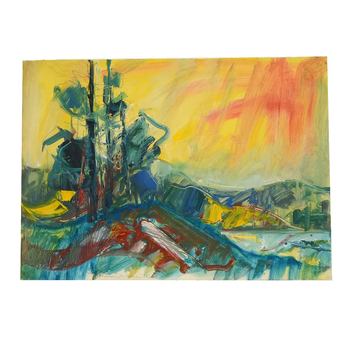 """Jack Meanwell Original Mixed Media Painting on Paper """"McGregor Bay, Ontario"""""""