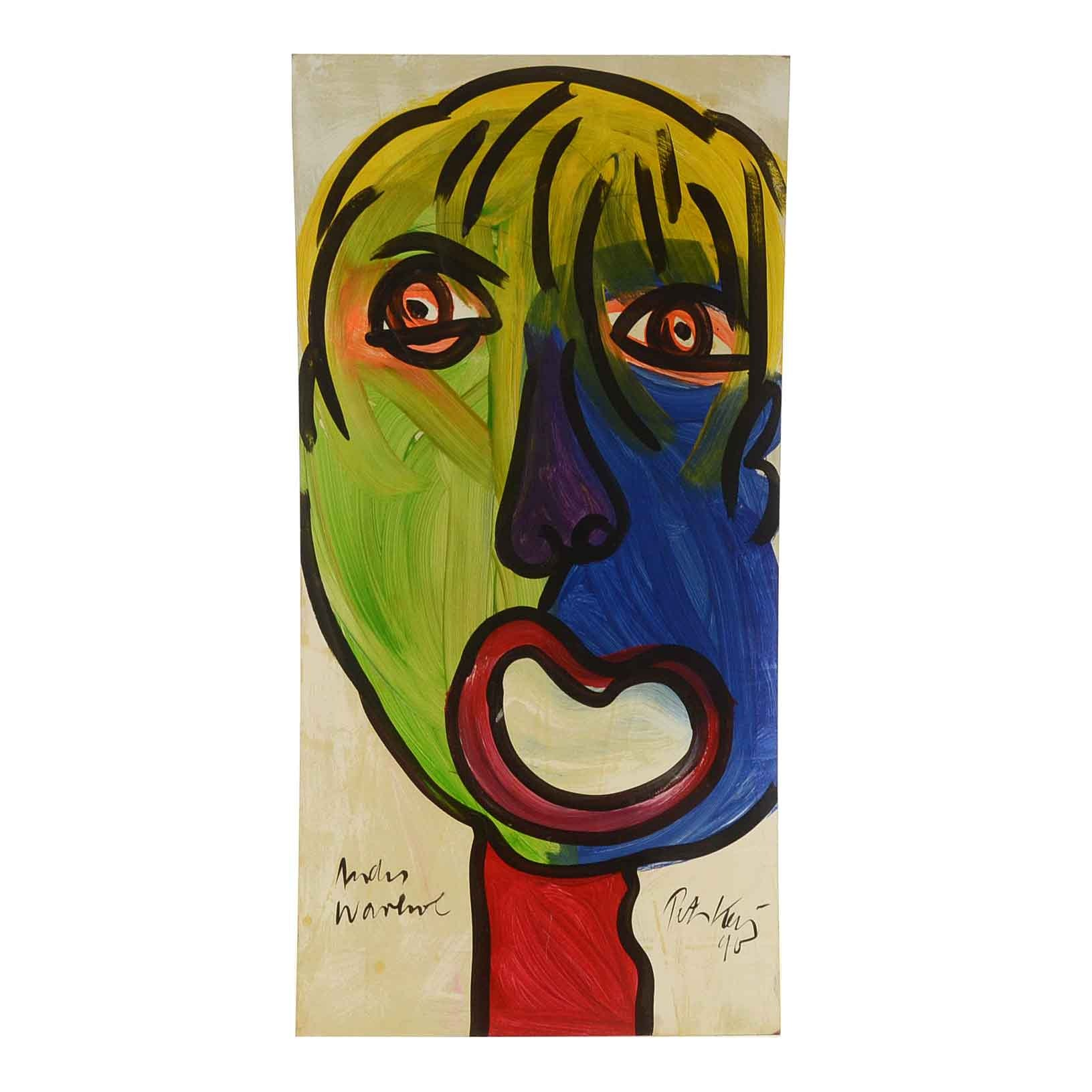 "Peter Keil Original 1990 Oil Painting on Masonite ""Andy Warhol"""