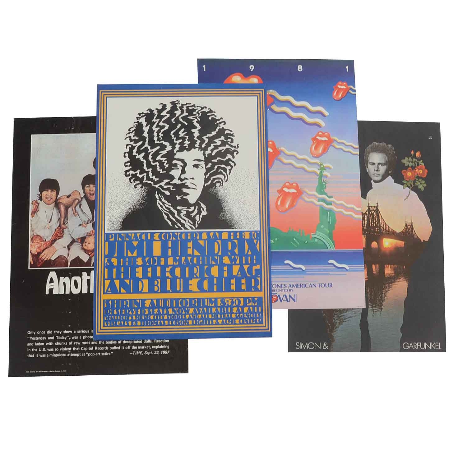 Collection of Four Vintage Lithographic Posters Featuring Rock Bands