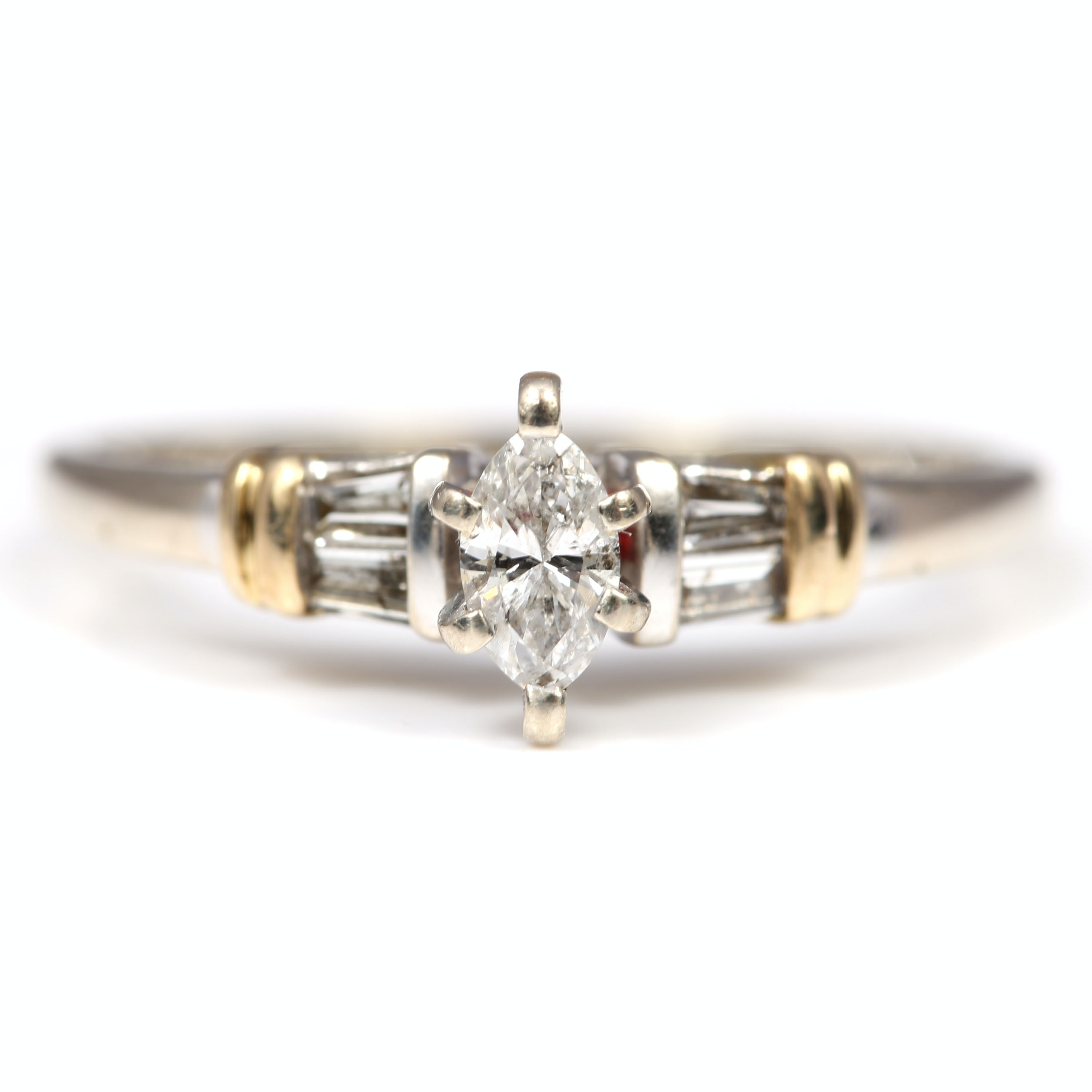 14K Yellow Gold Marquise and Baguette Diamond Ring
