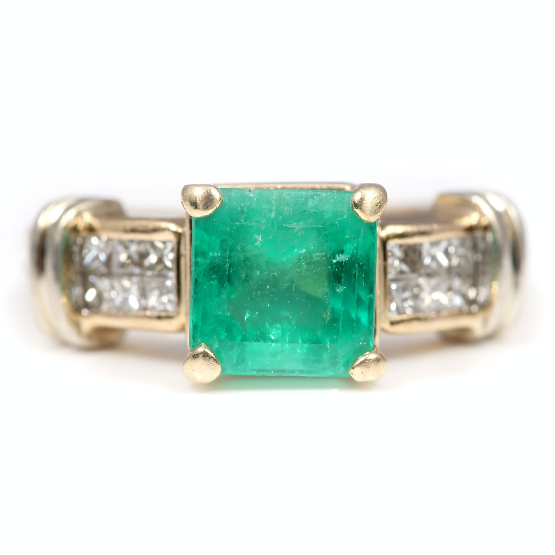 Magic Glo 14K Yellow Gold 2.30 CT Emerald and Princess Cut Diamond Ring