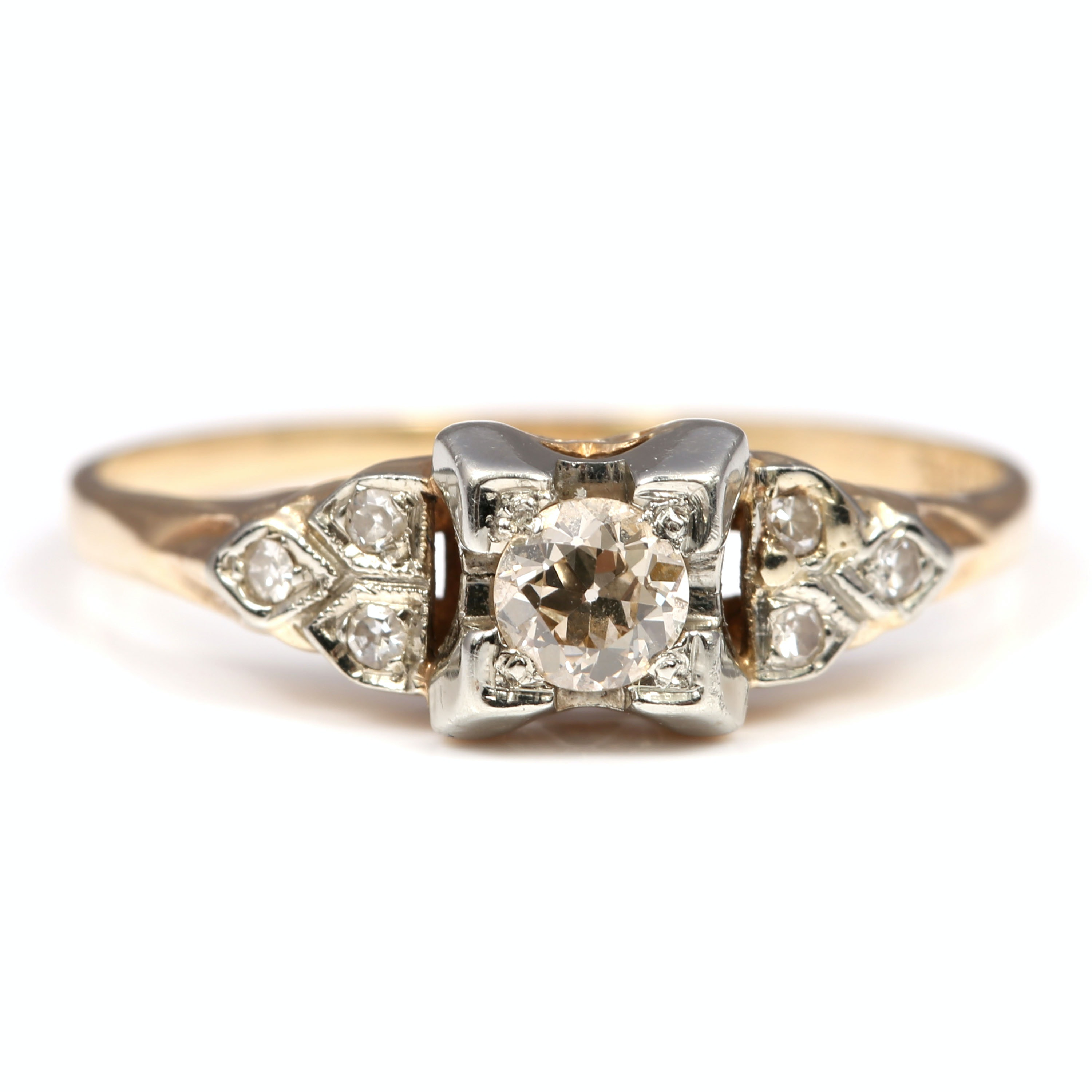 14K Yellow Gold Old European Cut Diamond Ring with 18K White Gold Prongs