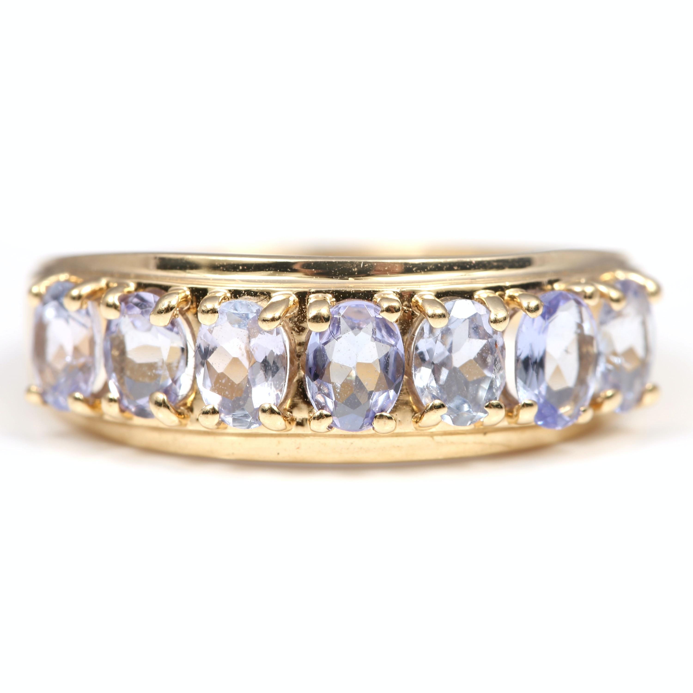 Clyde Duneier 10K Yellow Gold Seven-Stone Tanzanite Ring