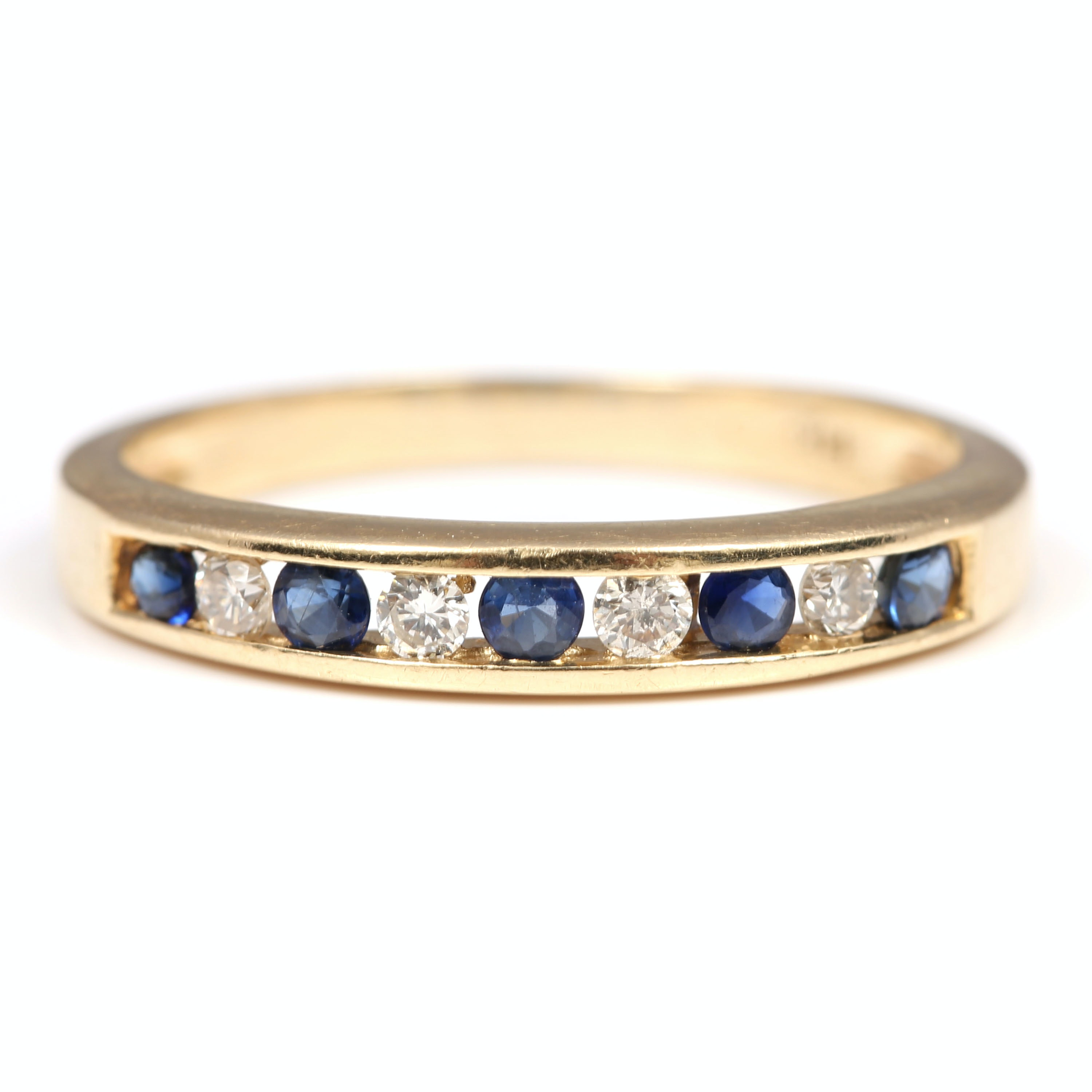 14K Yellow Gold Sapphire and Diamond Channel Set Band
