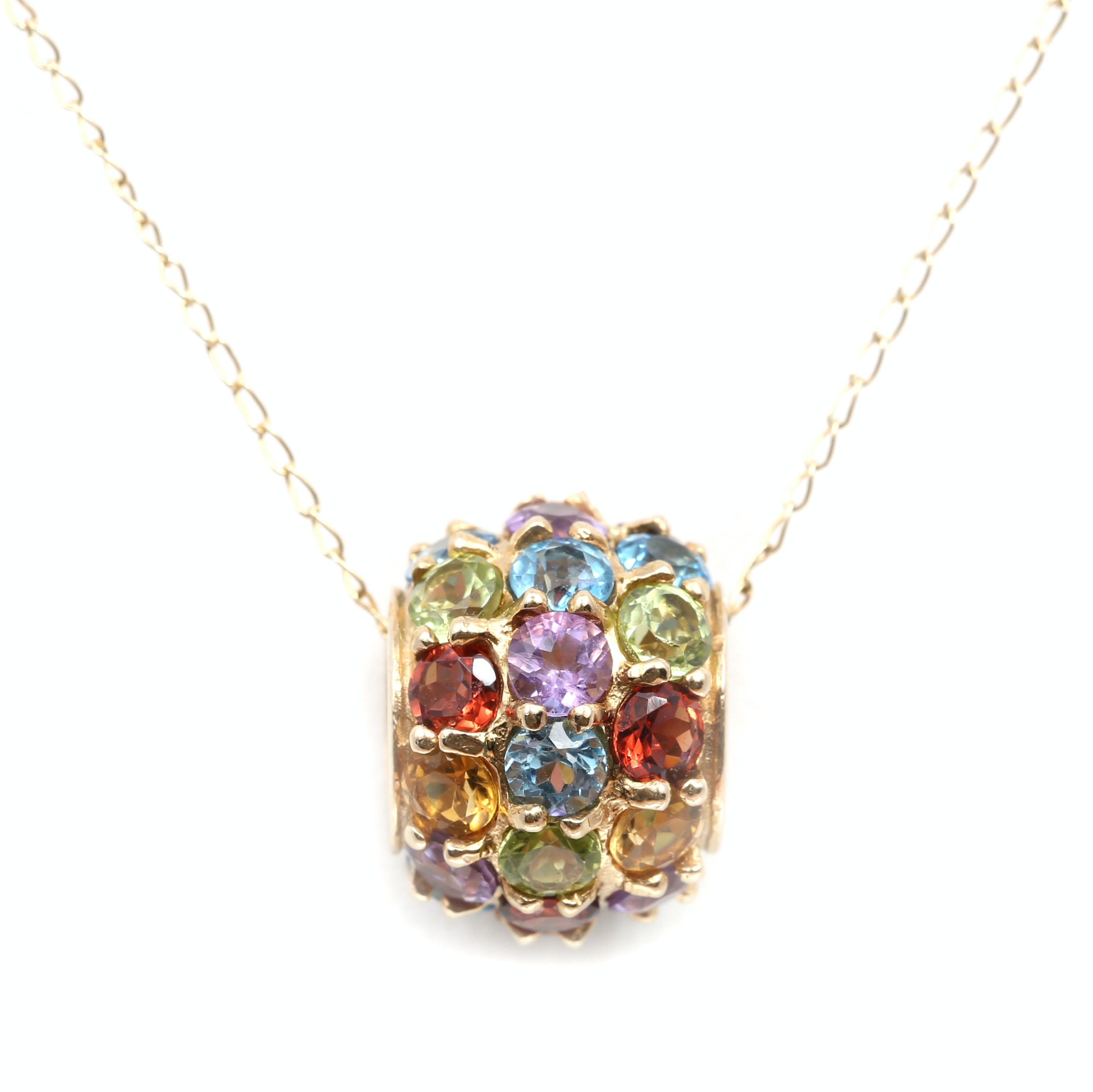 10K Yellow Gold Multi-Color Gemstone Pendant Necklace