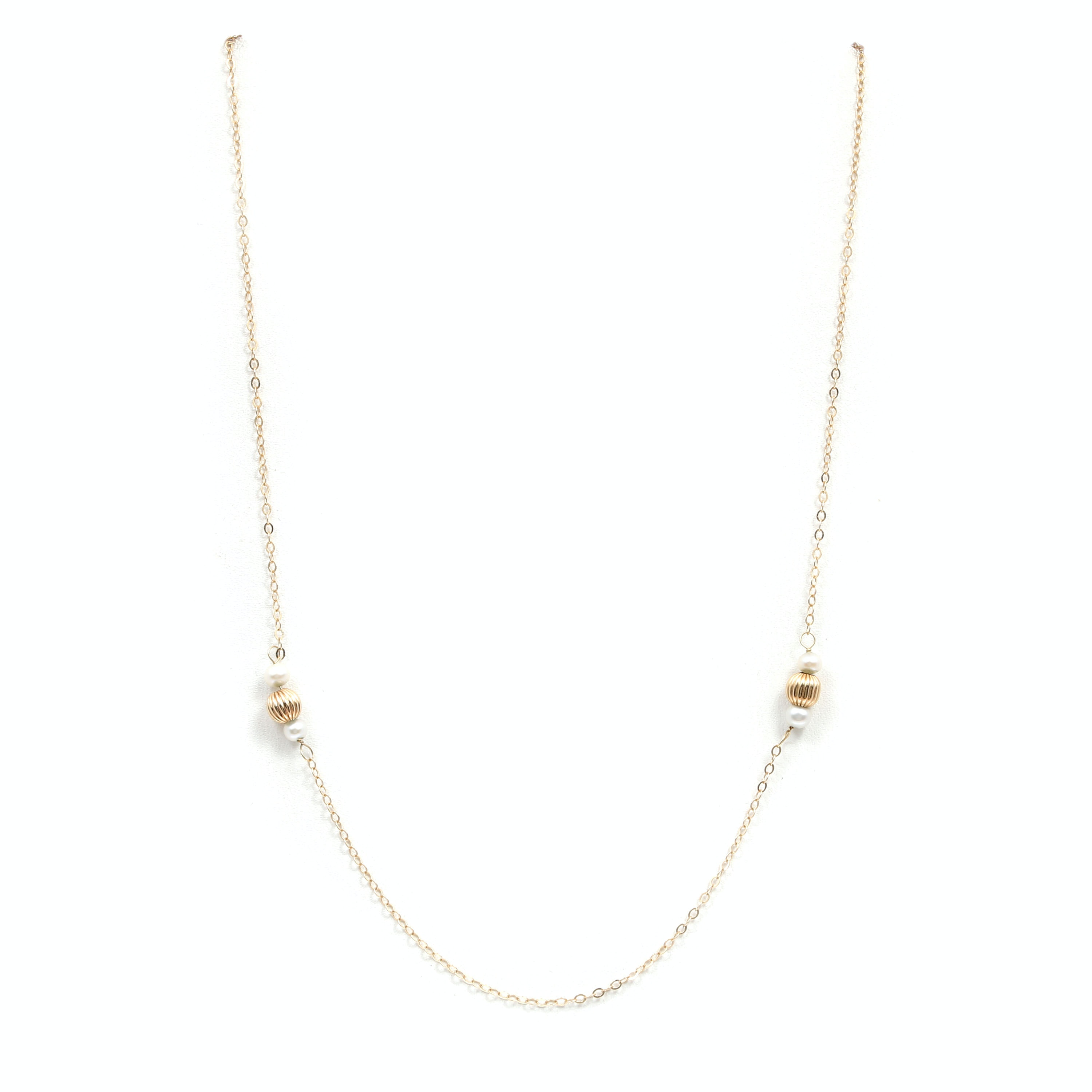 14K Yellow Gold Cultured Pearl and Fluted Gold Ball Necklace
