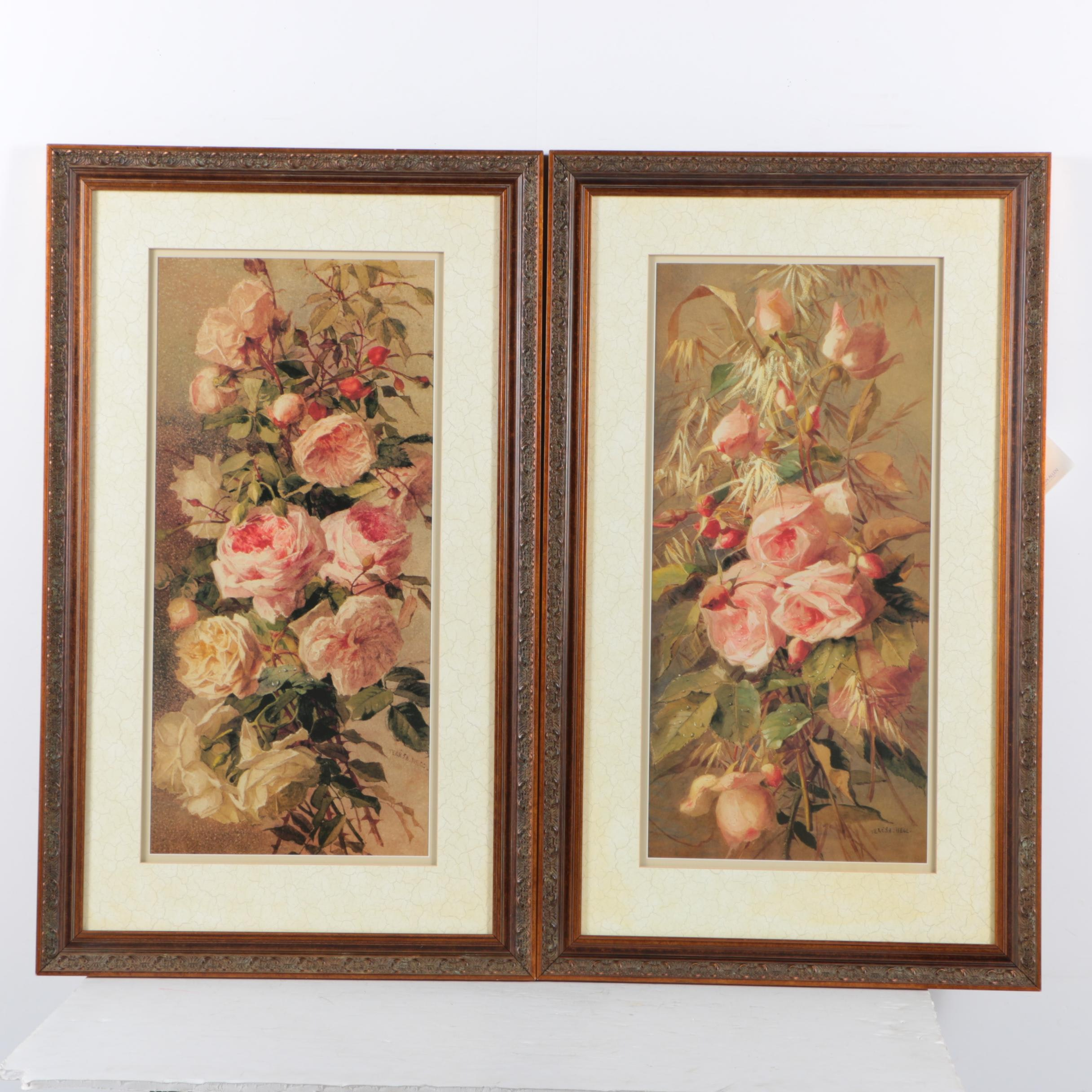 Offset Lithographs on Paper After Theresa Hegg of Roses