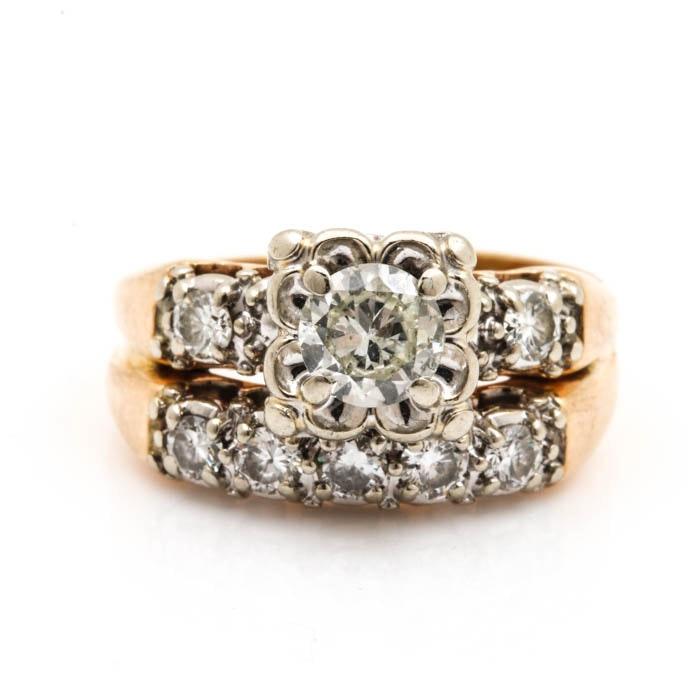 14K Two Tone Gold and Diamond Wedding Ring Set