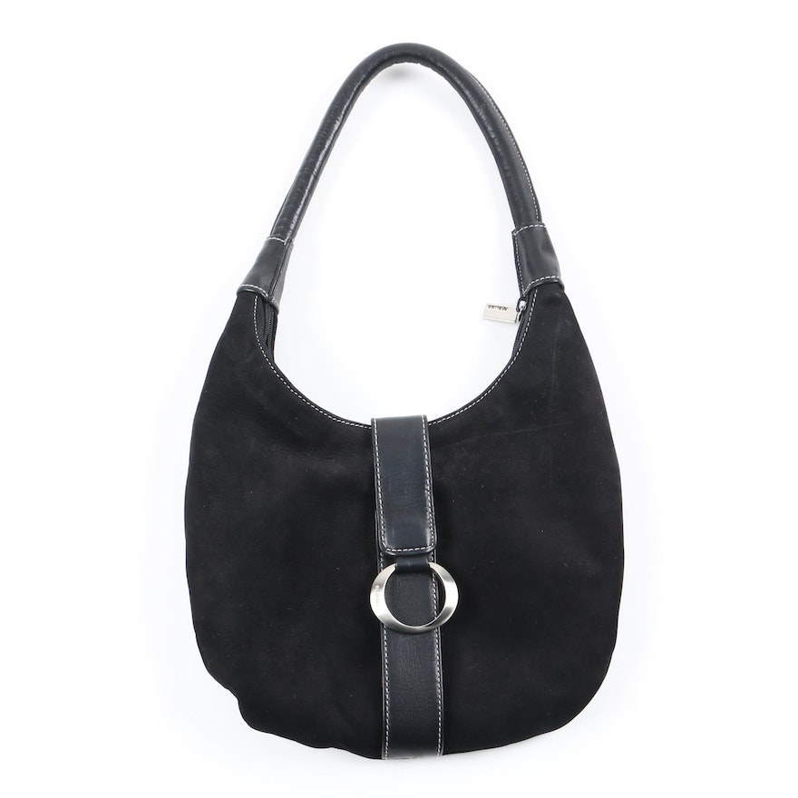 92c143aa8c Perlina Small Black Suede and Leather Hobo Bag   EBTH